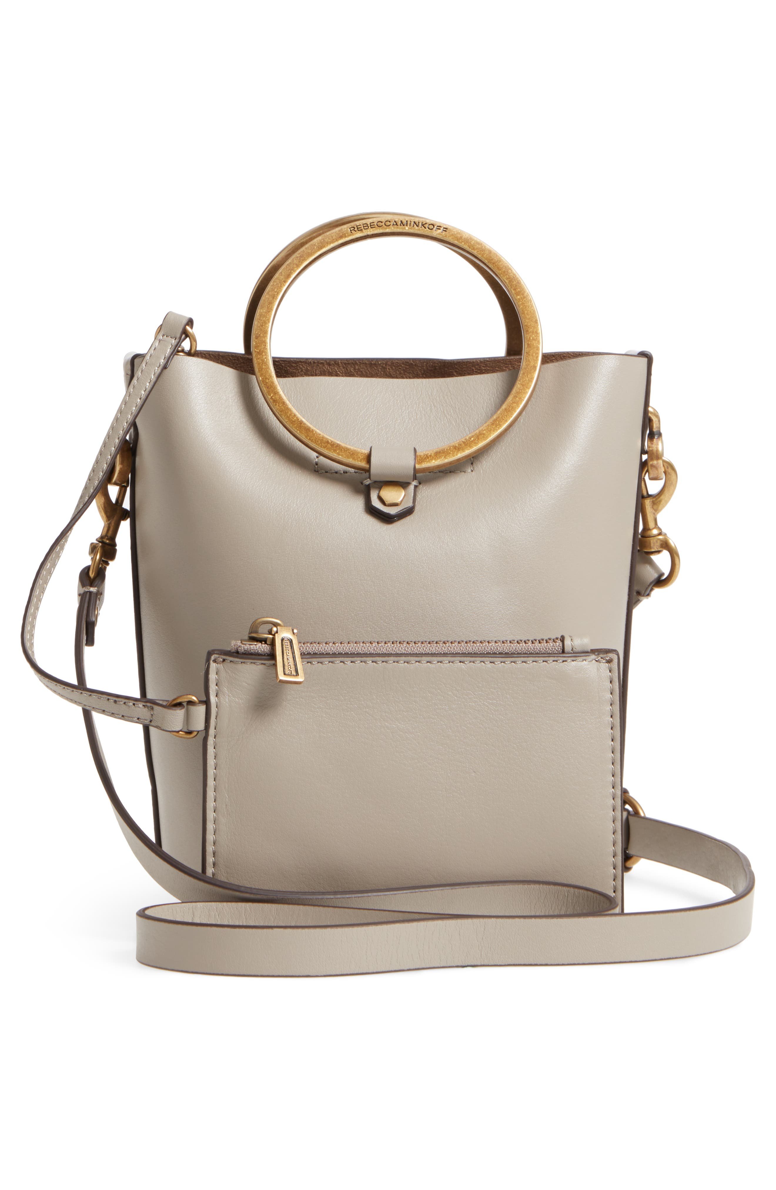 Ring Leather Bucket Bag,                             Alternate thumbnail 6, color,