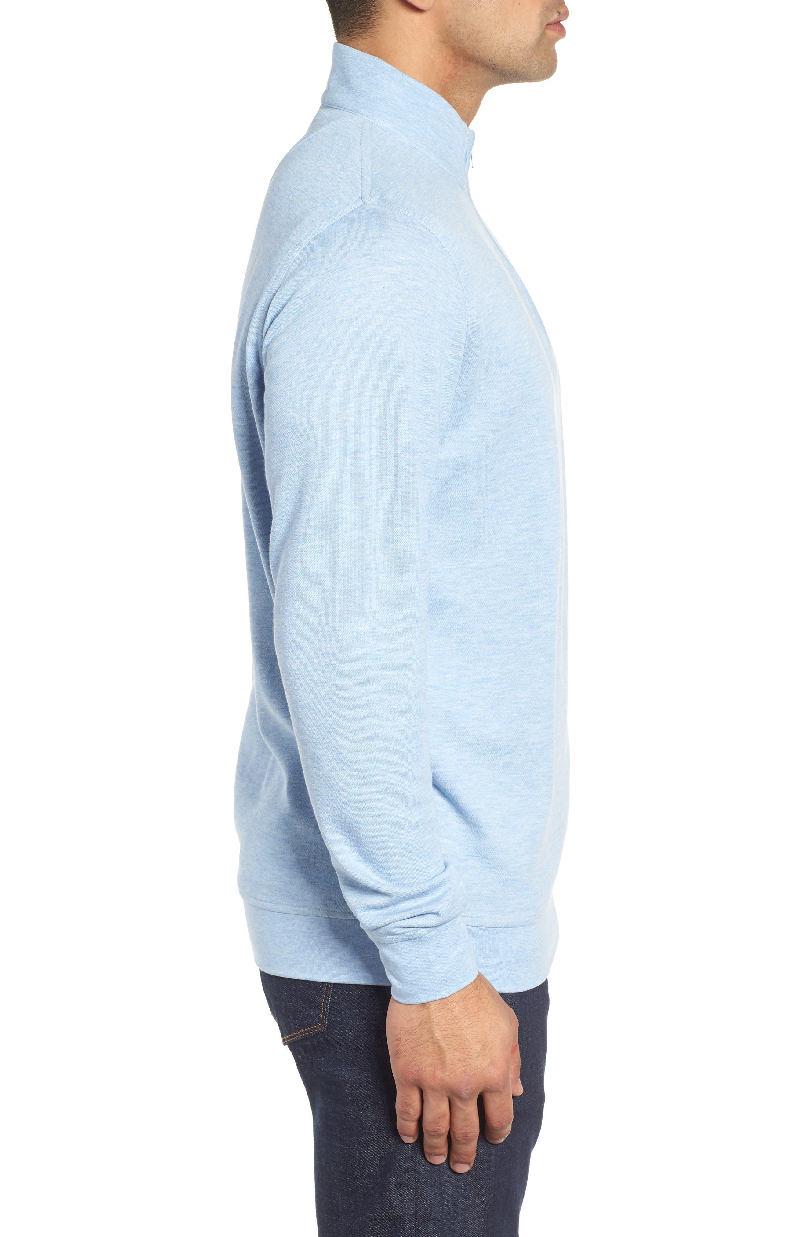 Crown Comfort Jersey Quarter Zip Pullover,                             Alternate thumbnail 3, color,                             COTTAGE BLUE