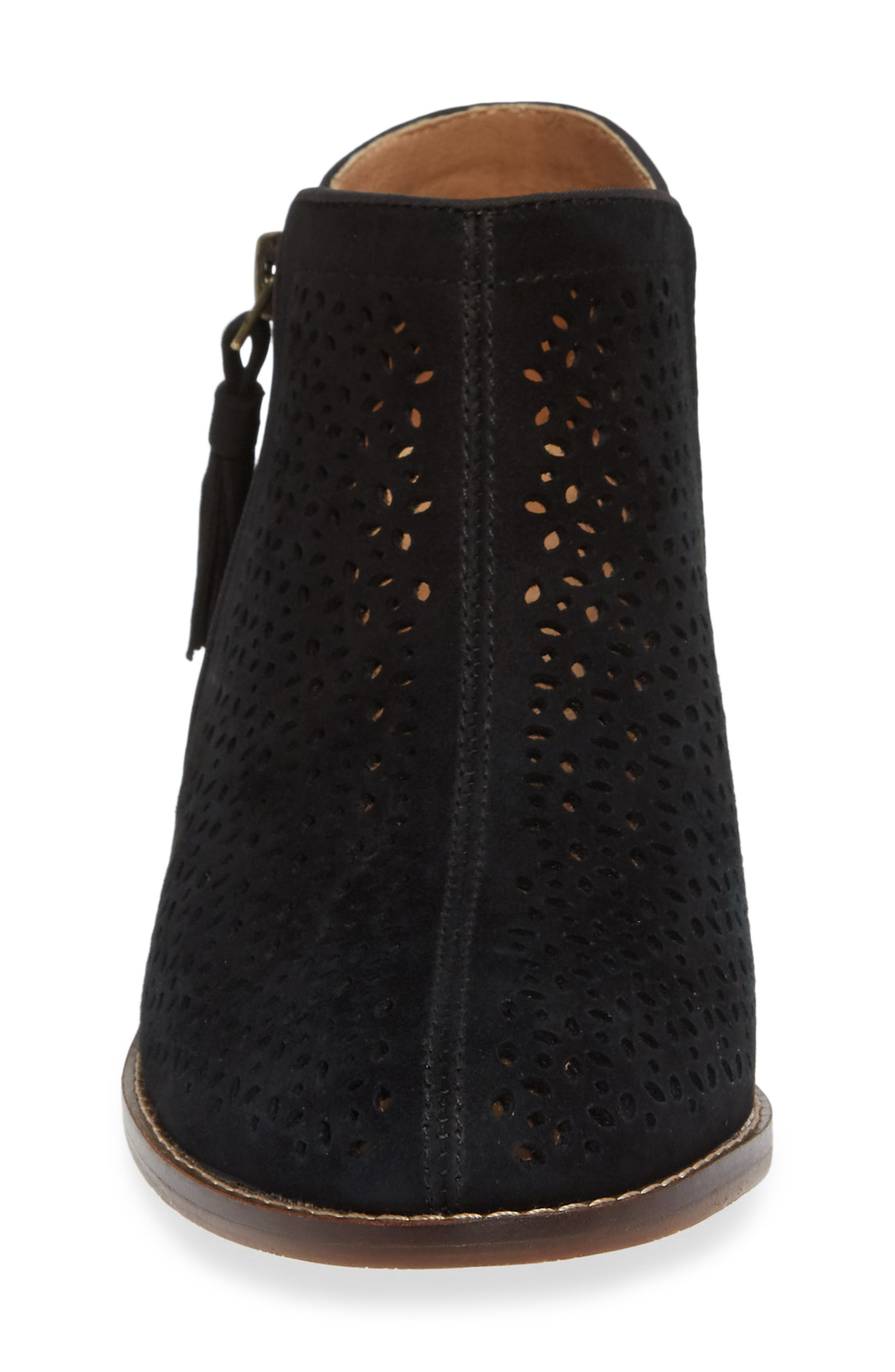 Daytona Perforated Bootie,                             Alternate thumbnail 4, color,                             BLACK SUEDE