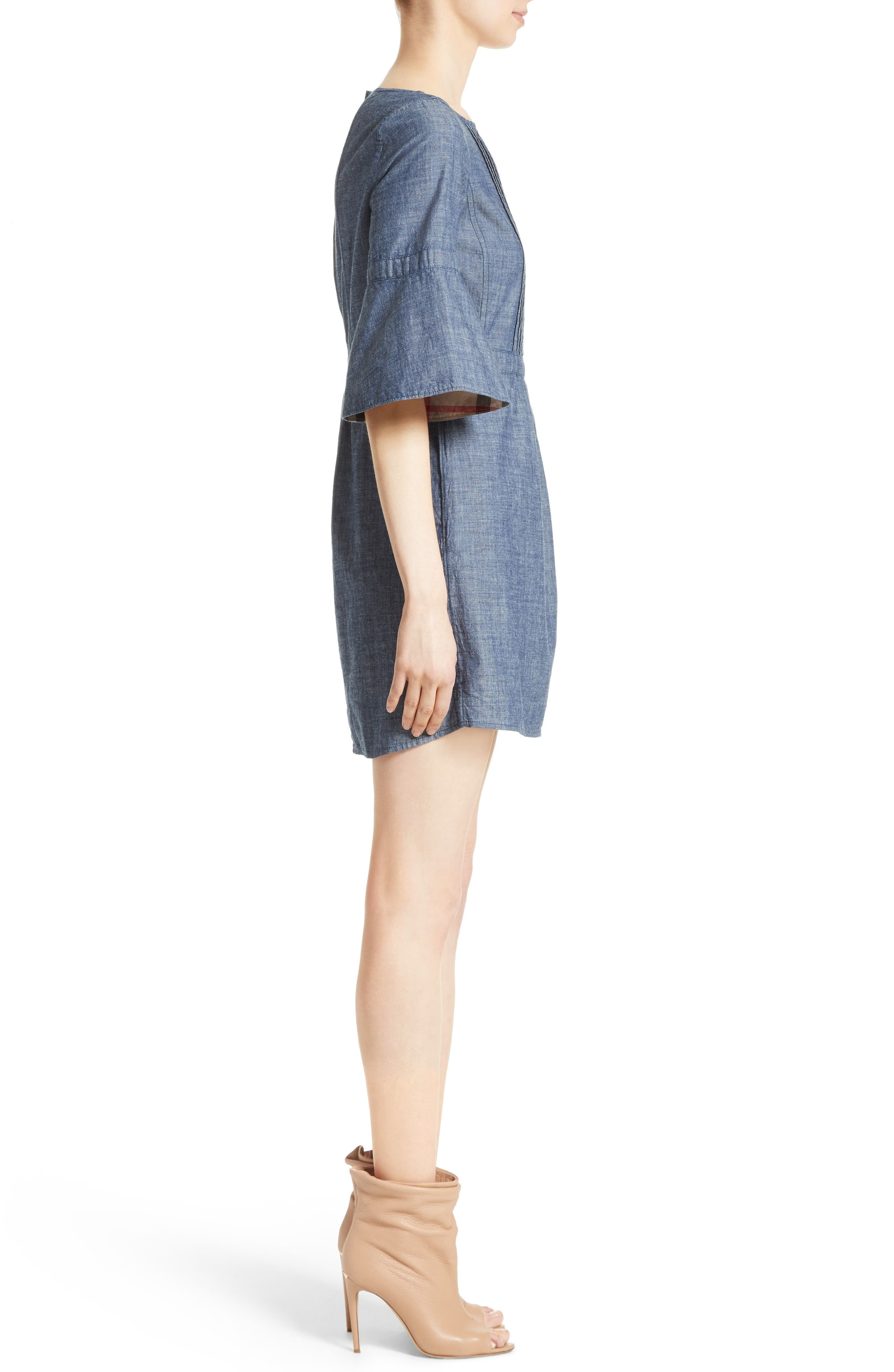 Michelle Bell Sleeve Chambray Dress,                             Alternate thumbnail 3, color,                             423
