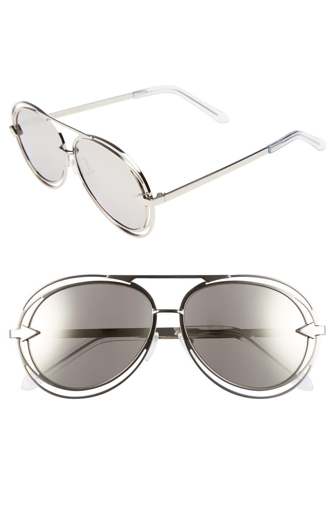'Jacques' Aviator 57mm Sunglasses, Main, color, 040