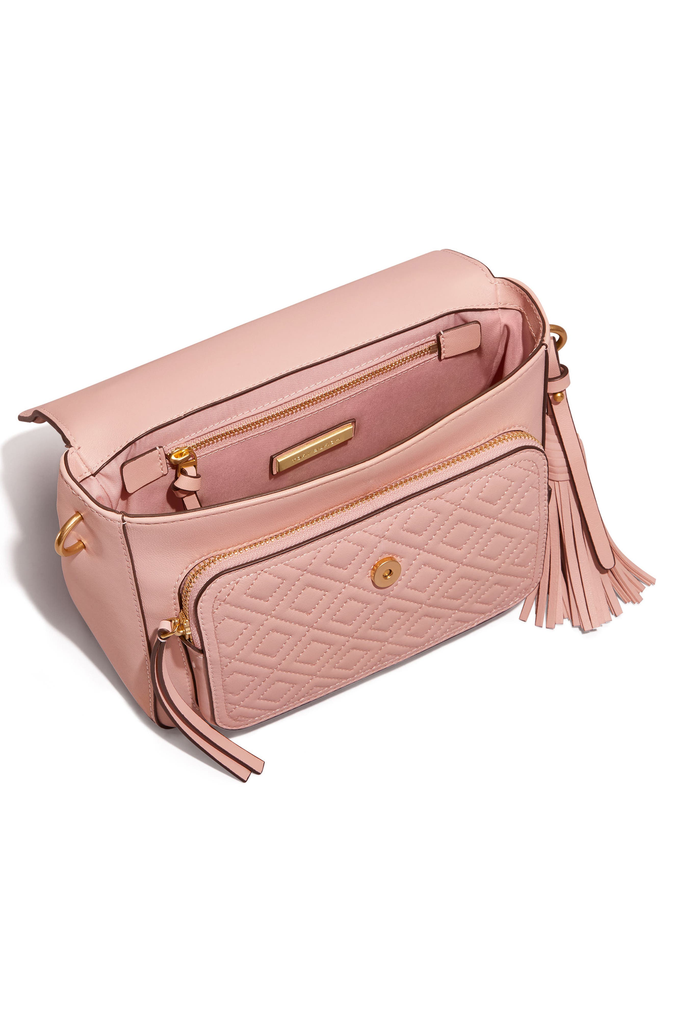 Fleming Quilted Leather Top Handle Satchel,                             Alternate thumbnail 2, color,                             SHELL PINK