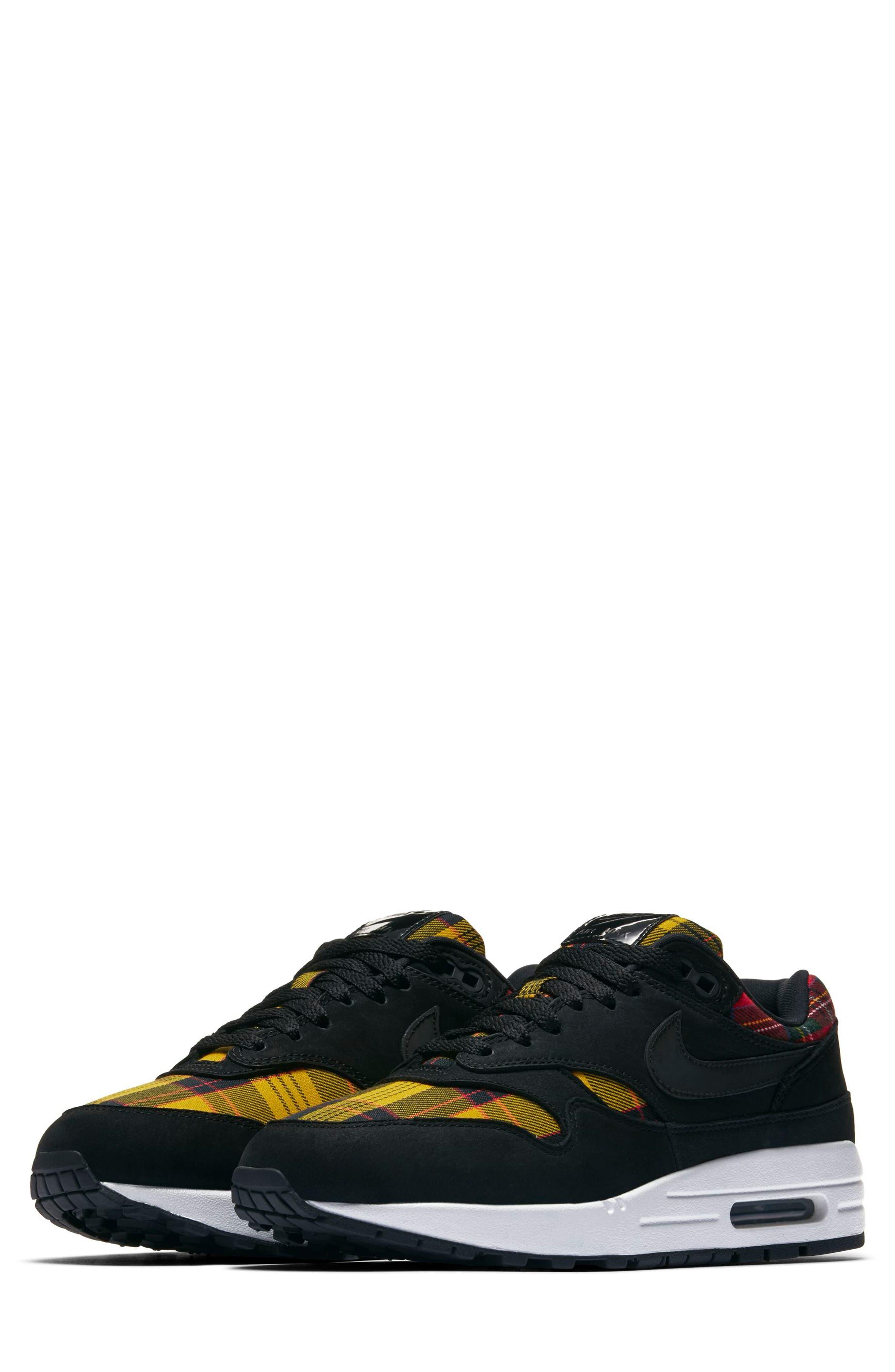 Air Max 1 SE Sneaker, Main, color, BLACK/ BLACK/ UNIVERSITY RED