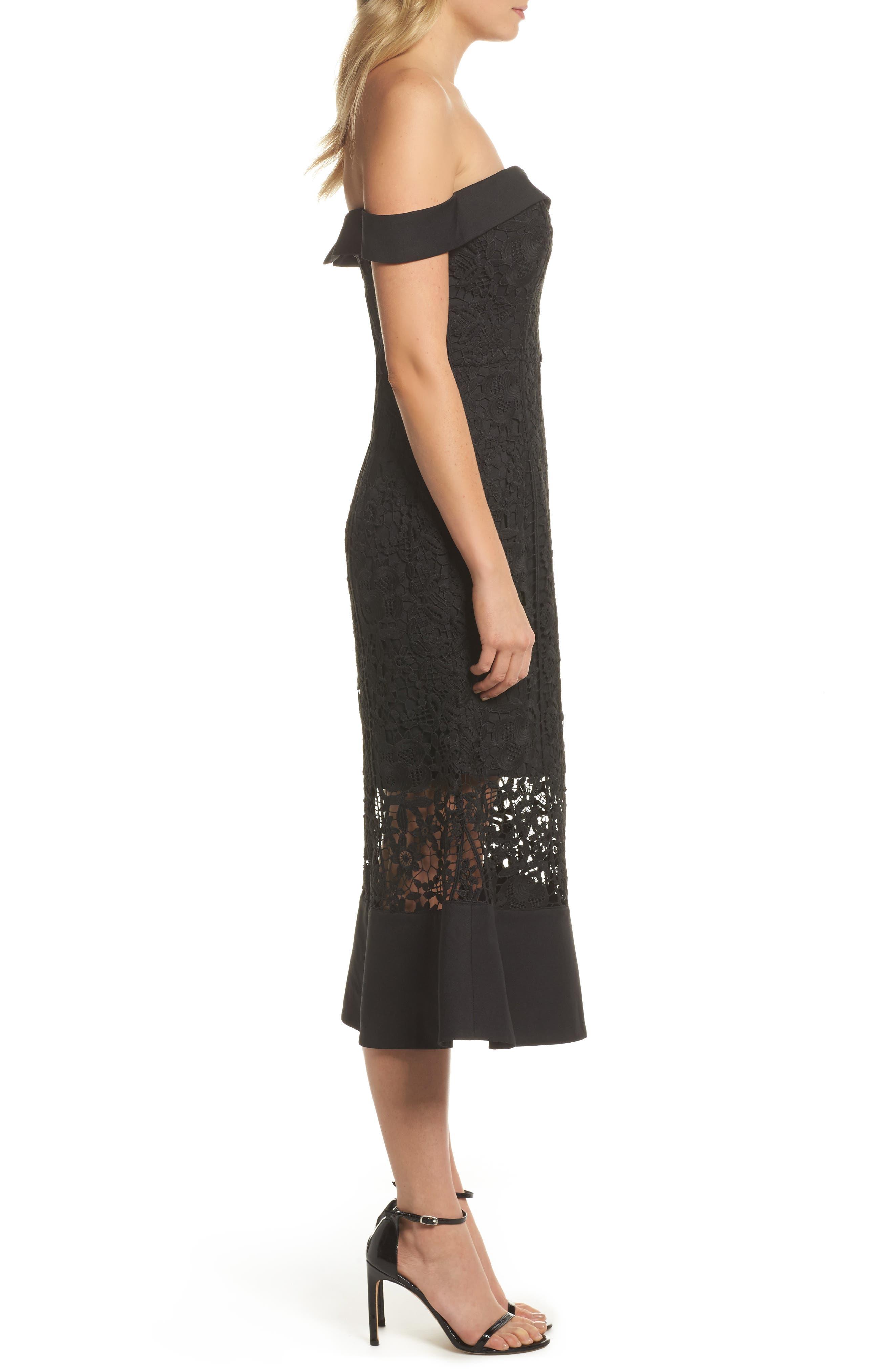 Talia Lace Off the Shoulder Midi Dress,                             Alternate thumbnail 3, color,                             001