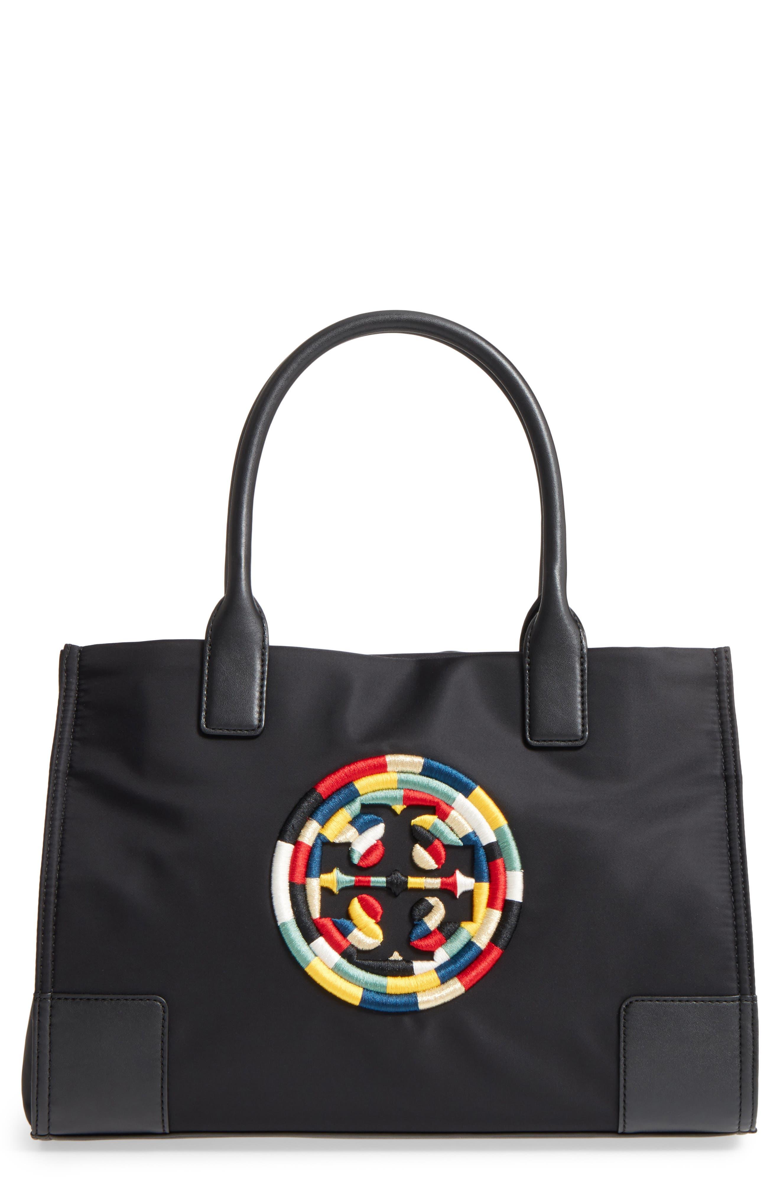 Mini Ella Embroidered Logo Nylon Tote,                         Main,                         color, 001