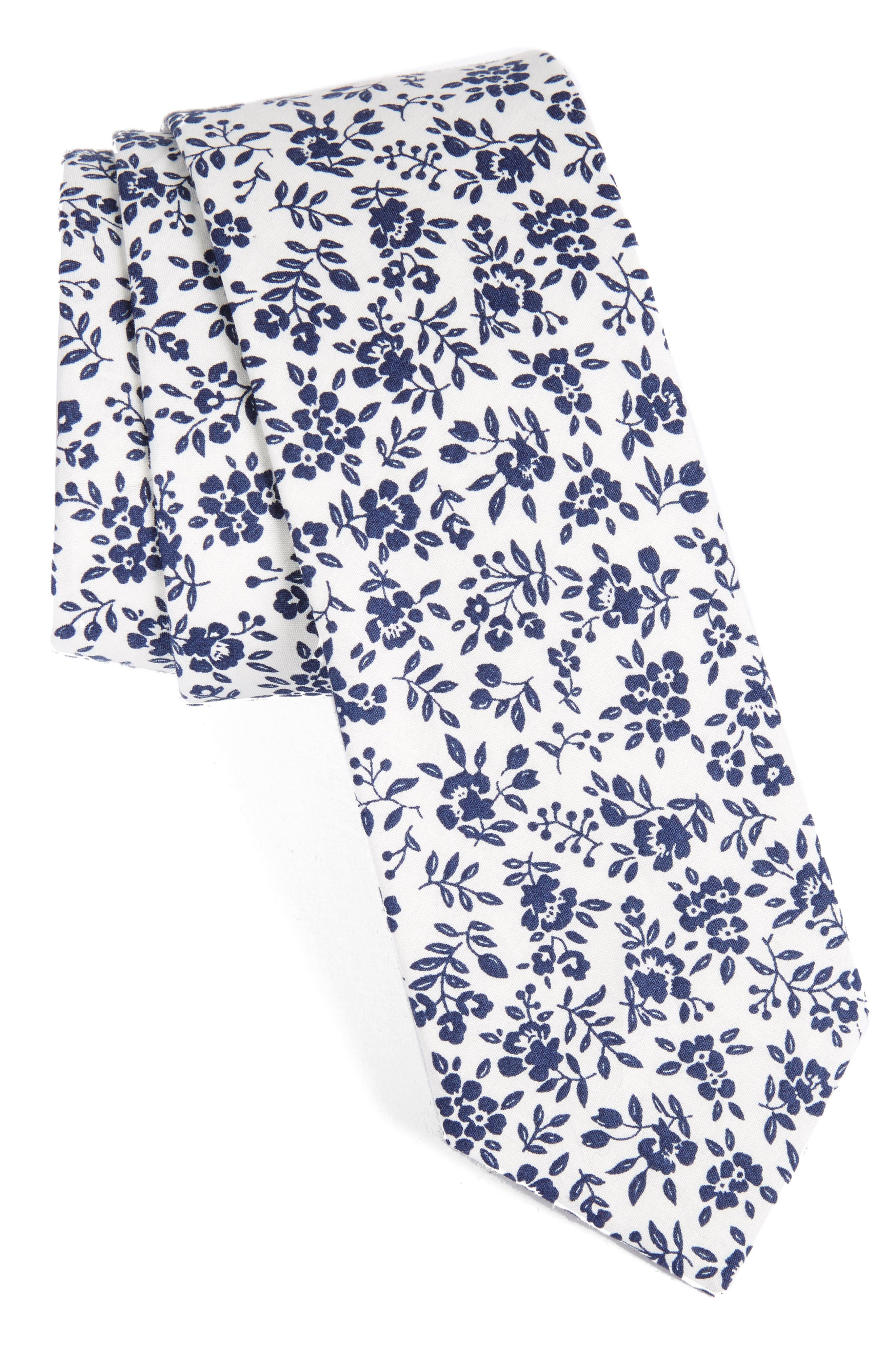 Floral Cotton Tie,                             Main thumbnail 1, color,                             100