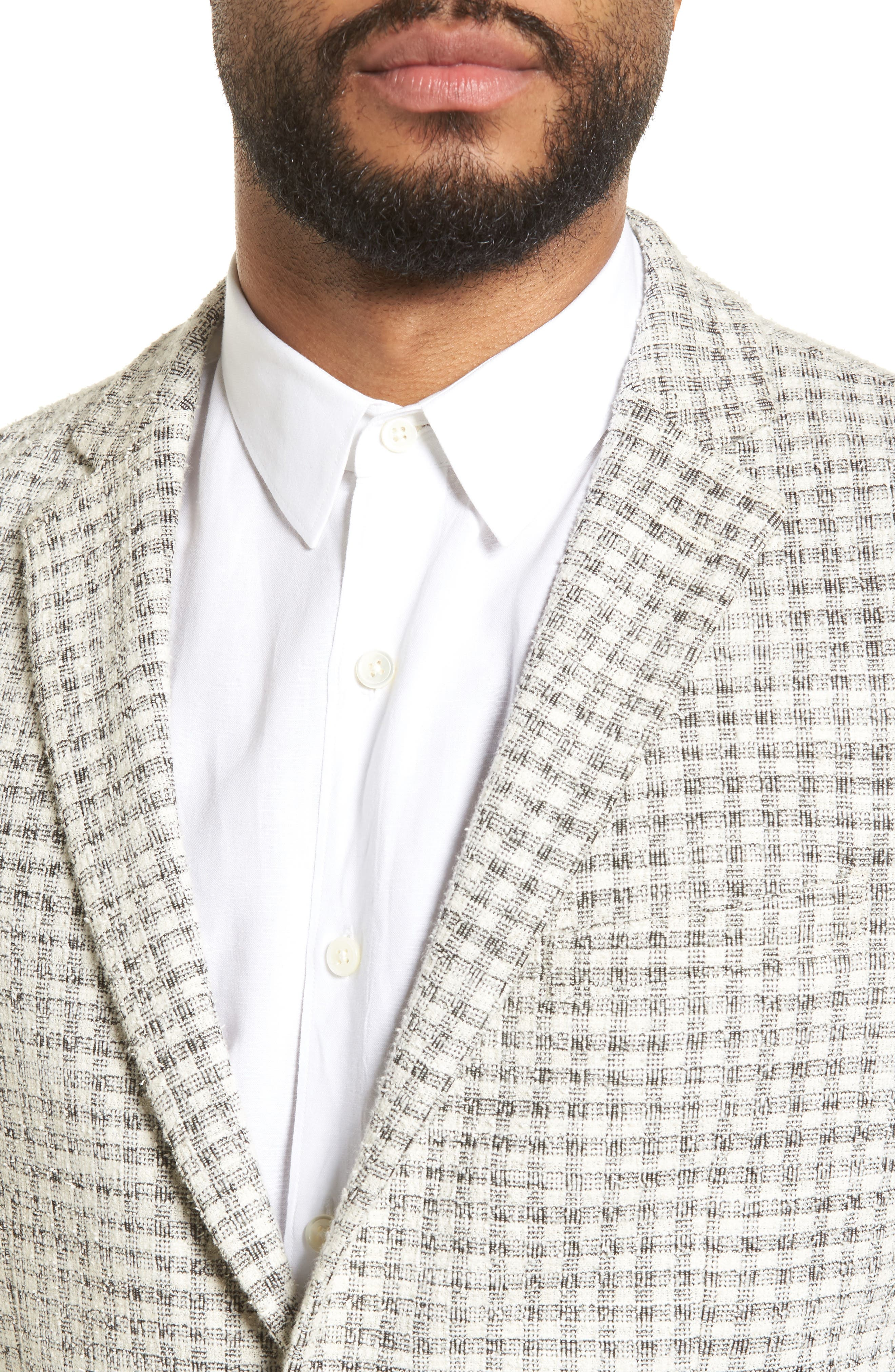 Dell Aria Unconstructed Blazer,                             Alternate thumbnail 4, color,                             GREY CREAM CHECK BOUCLE