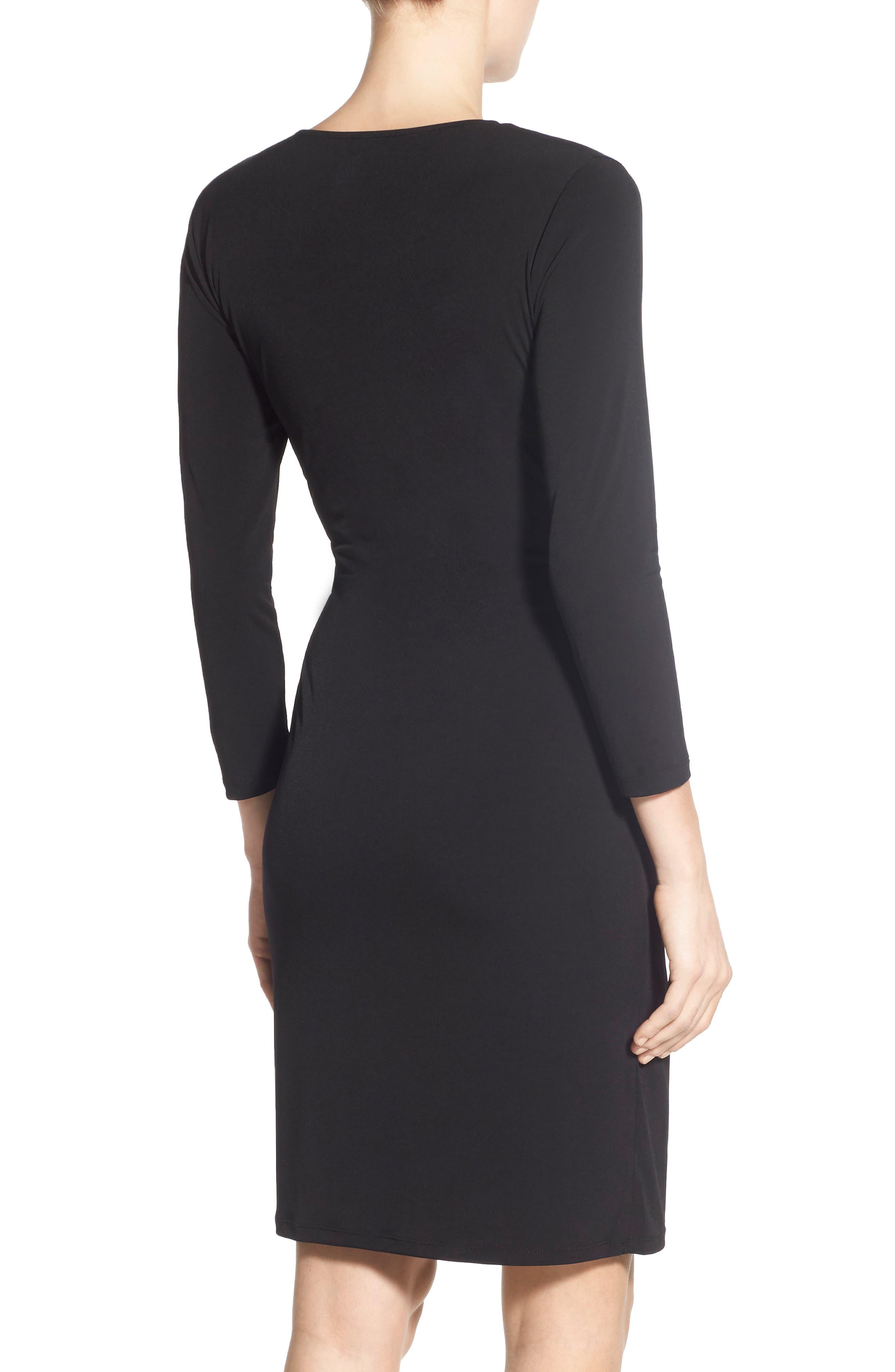 Faux Wrap Jersey Dress,                         Main,                         color, BLACK