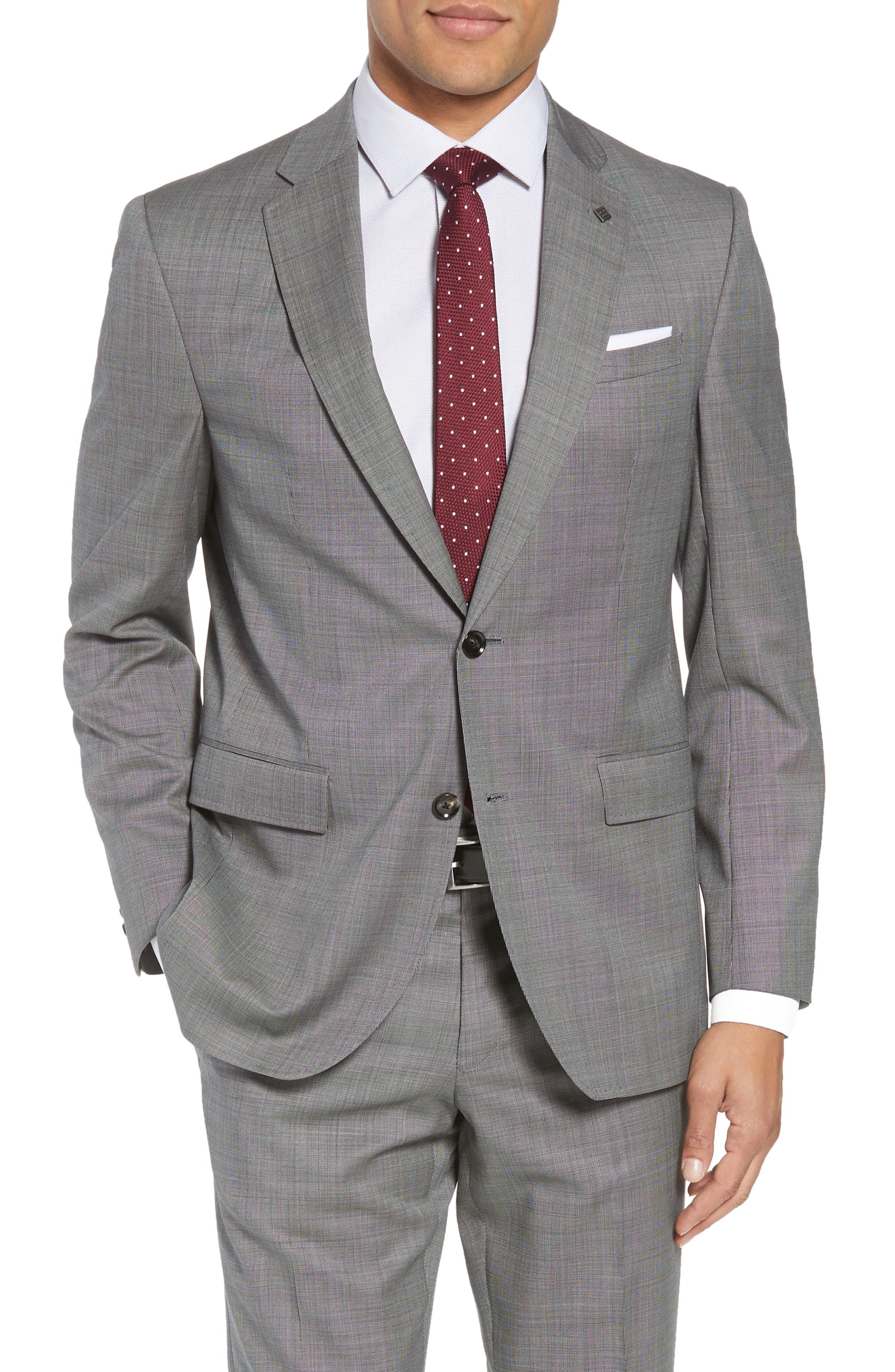Jay Trim Fit Solid Wool Suit,                             Alternate thumbnail 9, color,                             LIGHT GREY