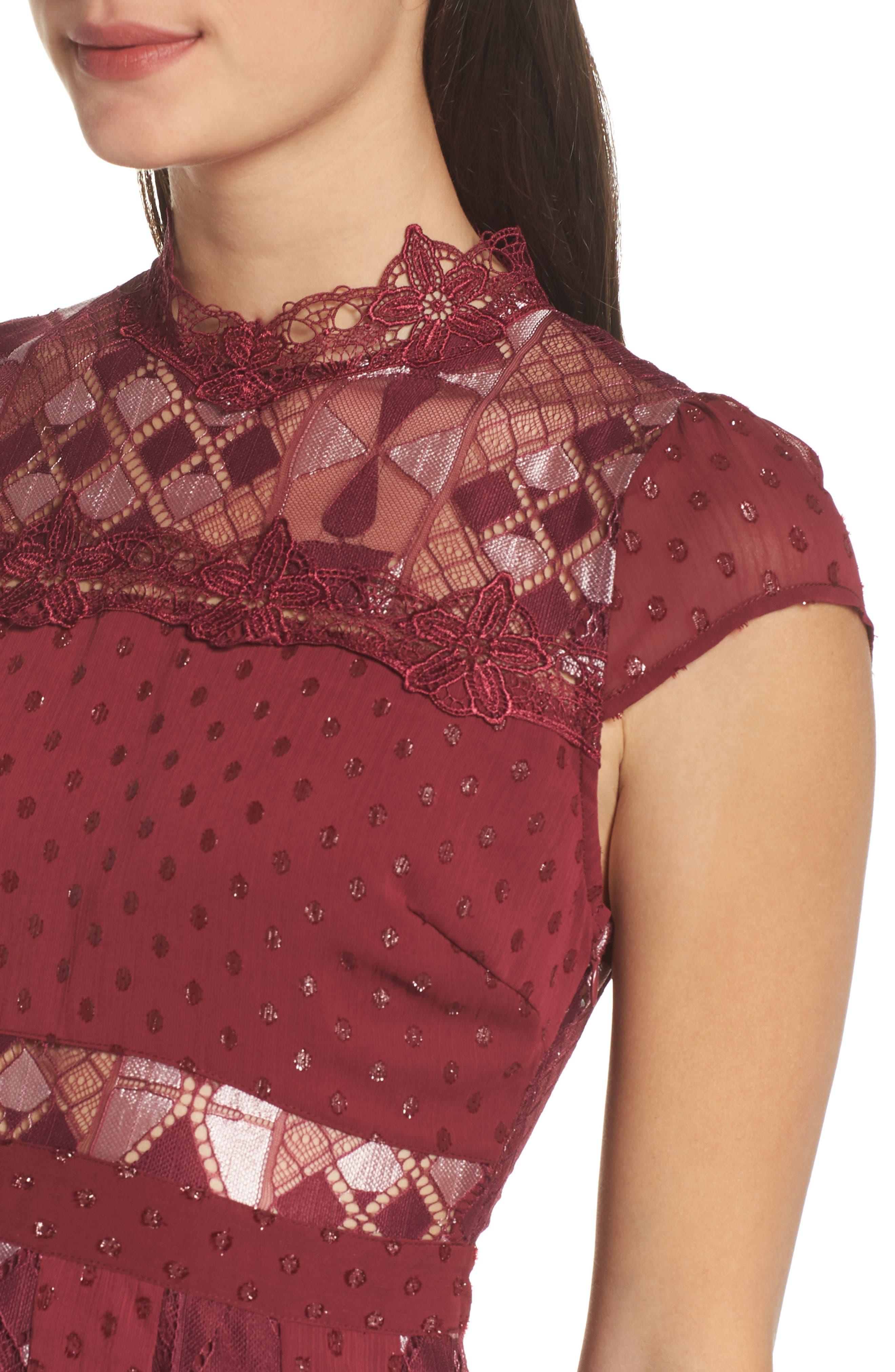 Bravo Zulu Fit & Flare Dress,                             Alternate thumbnail 4, color,                             WINE METALLIC