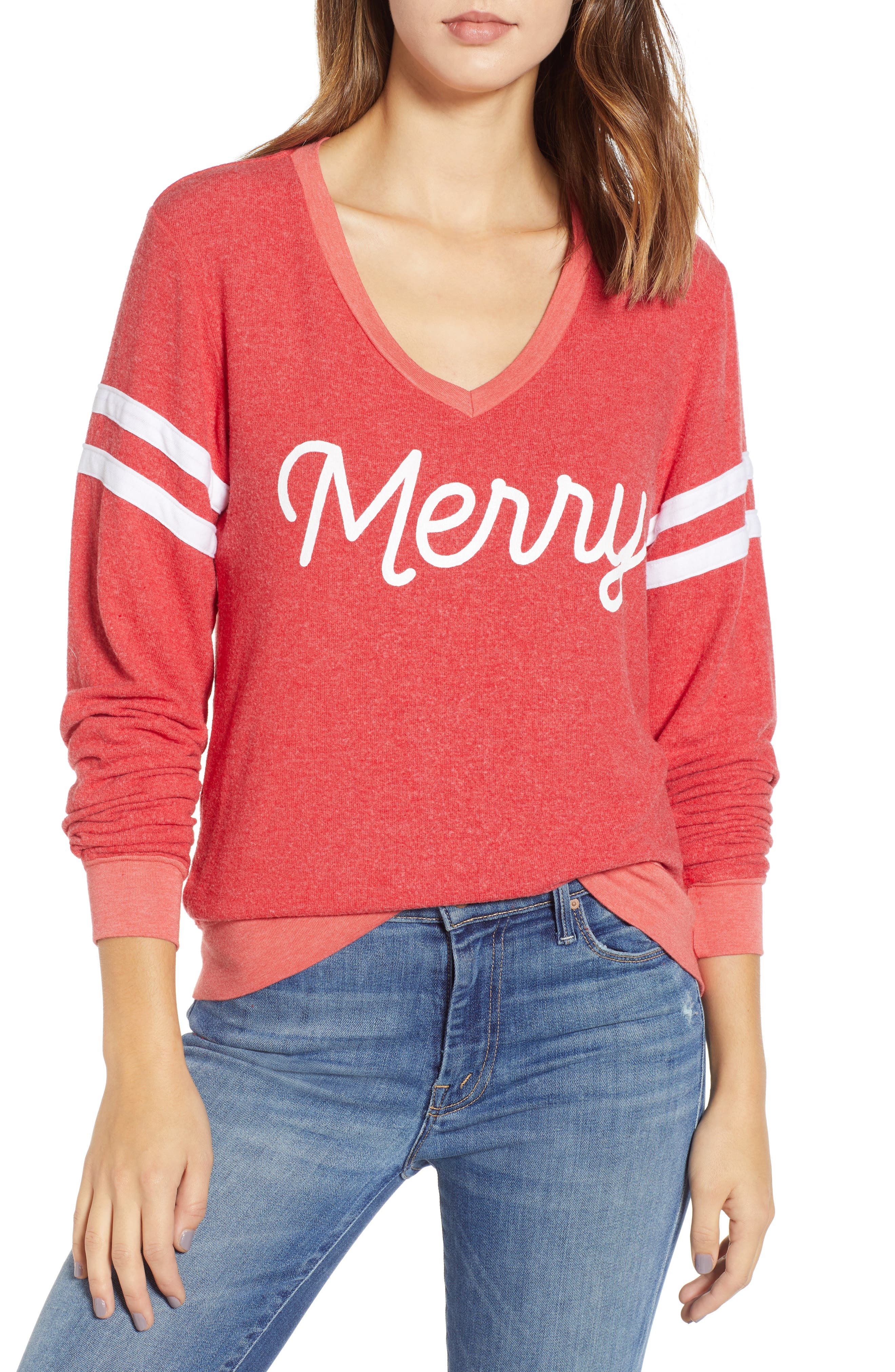 Wildfox Merry Sport Baggy Beach V-Neck Pullover, Red