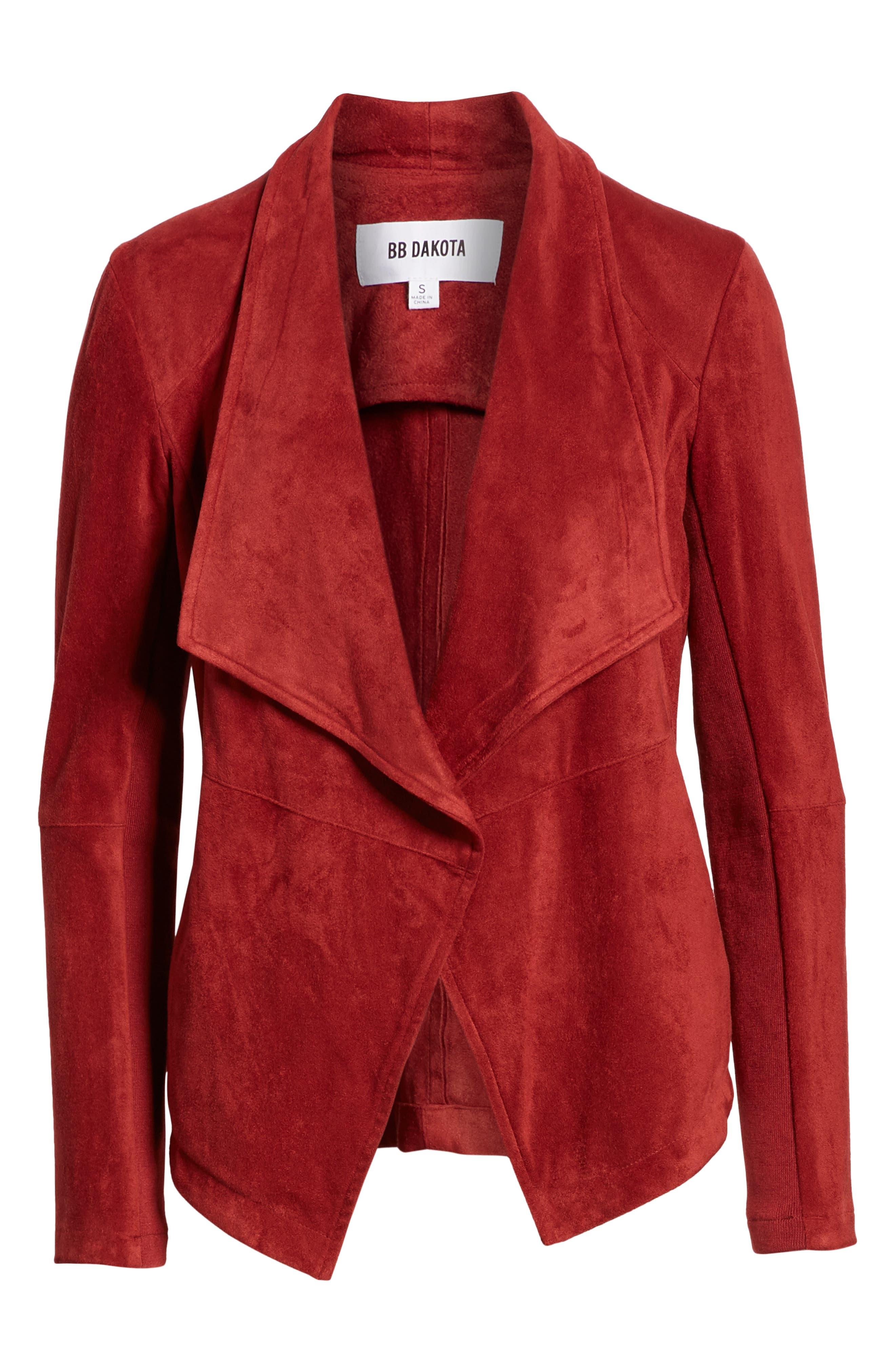 BB DAKOTA,                             Nicholson Faux Suede Drape Front Jacket,                             Alternate thumbnail 6, color,                             BRICK RED
