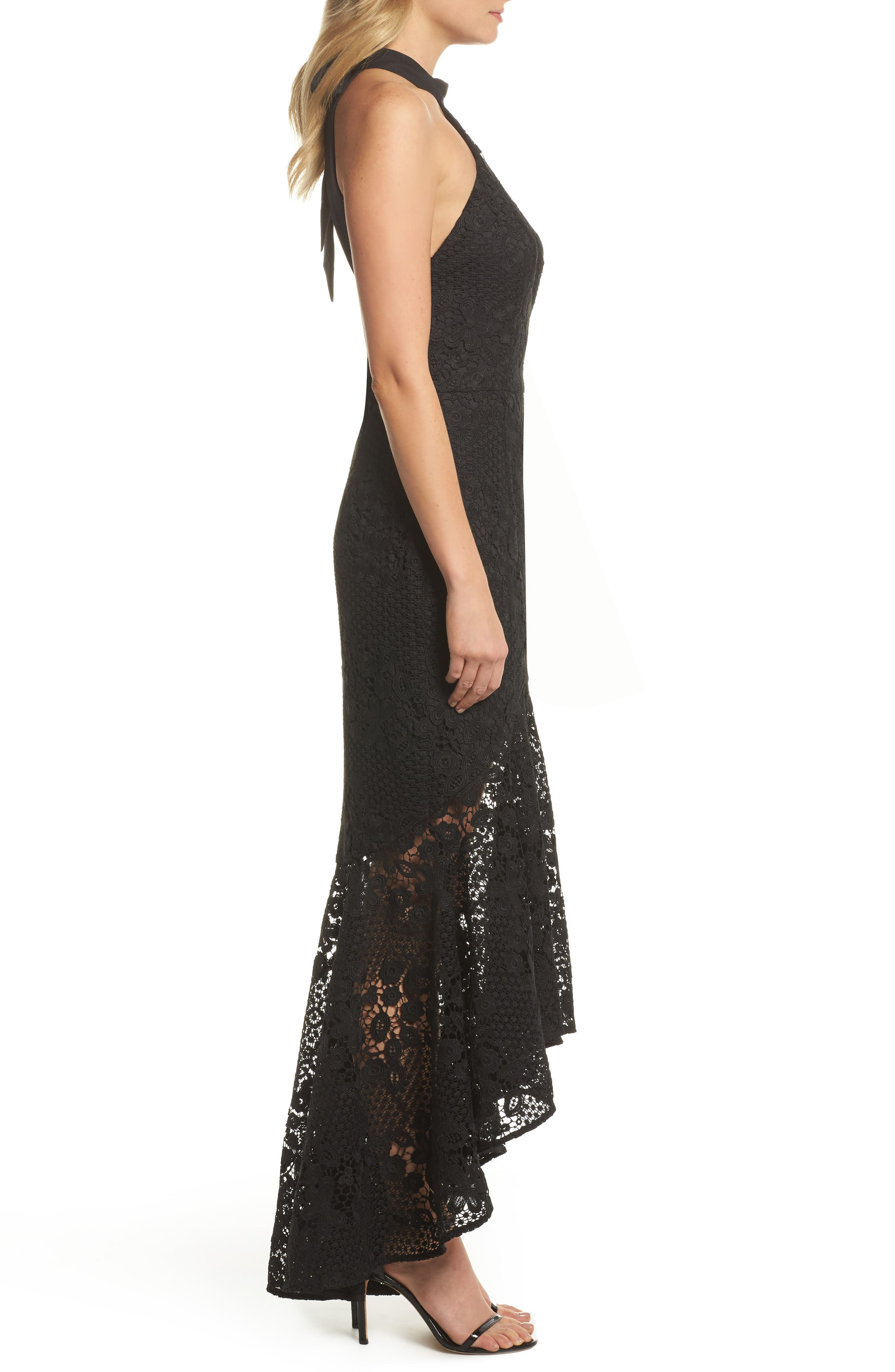 Pascal Lace Halter Neck Gown,                             Alternate thumbnail 3, color,                             001