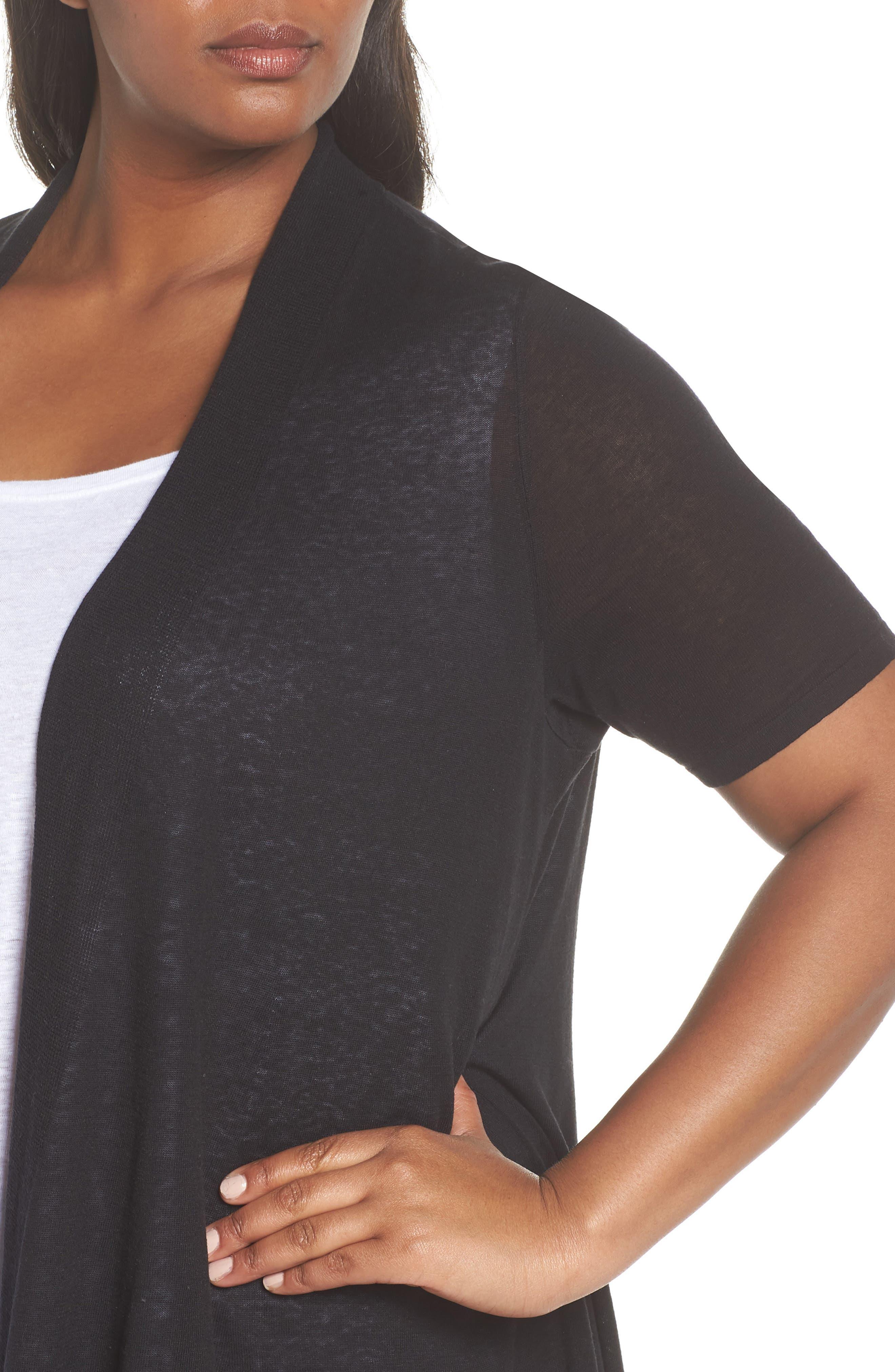 Silk & Organic Linen Long Cardigan,                             Alternate thumbnail 4, color,                             001