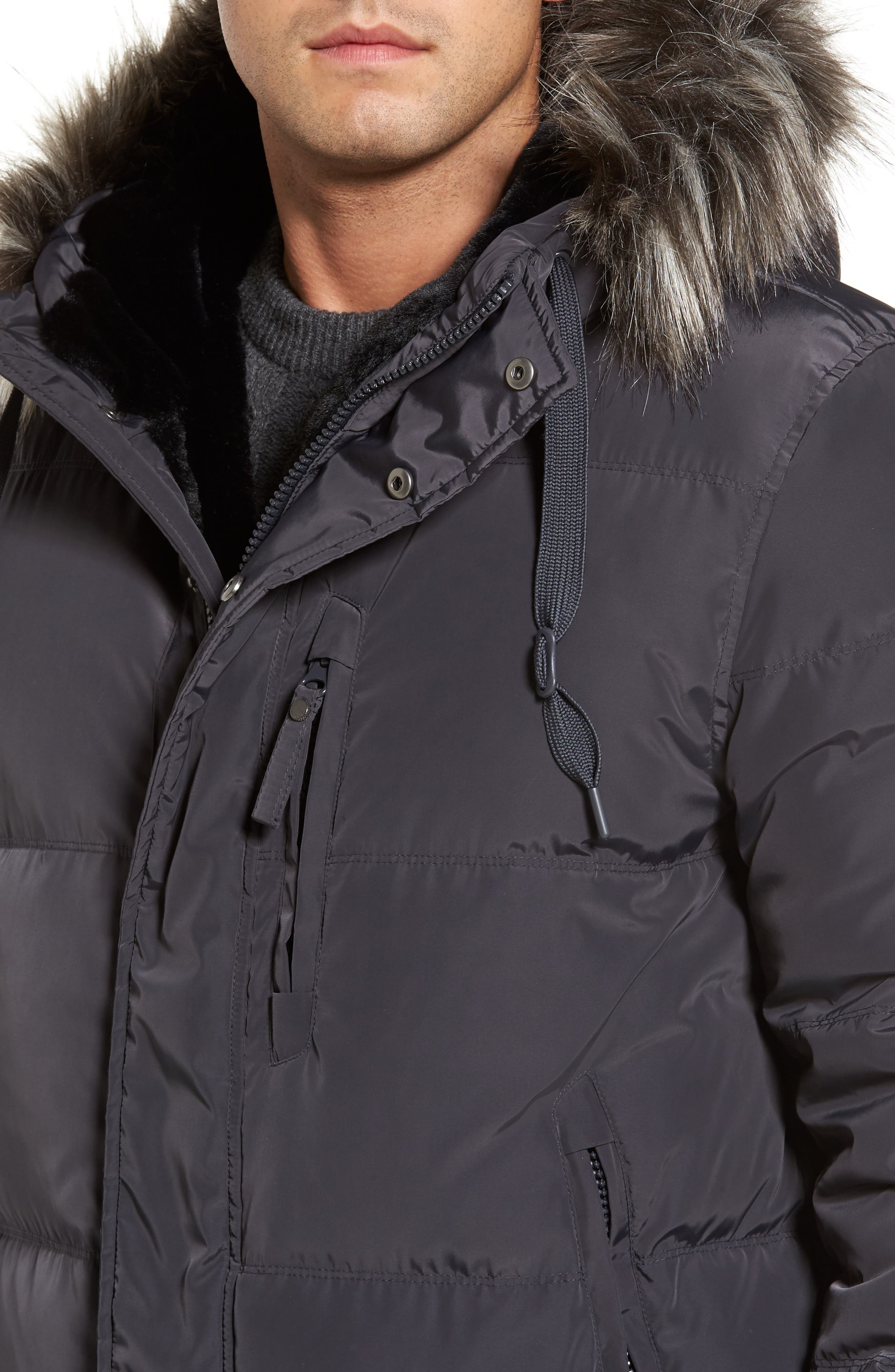 Quilted Down Parka with Faux Fur Trim,                             Alternate thumbnail 4, color,                             070