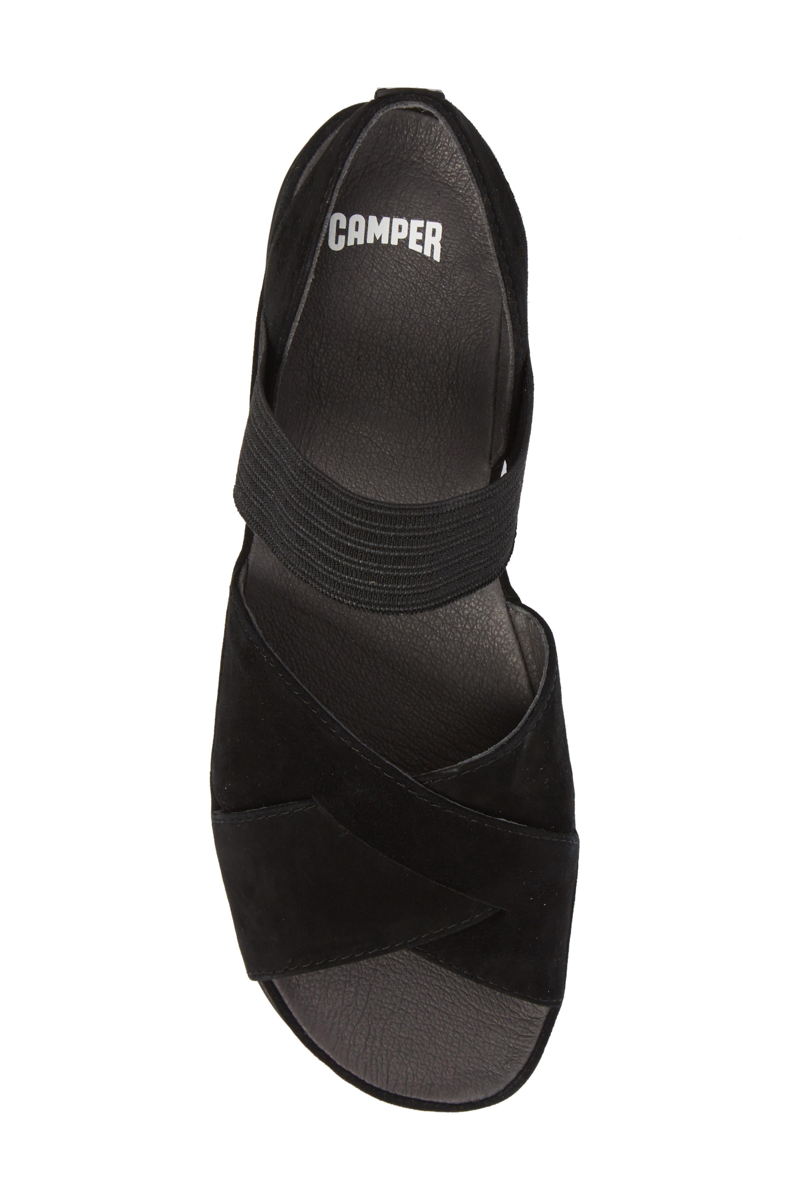 Right Nina Flat Cross Strap Sandal,                             Alternate thumbnail 5, color,                             BLACK LEATHER