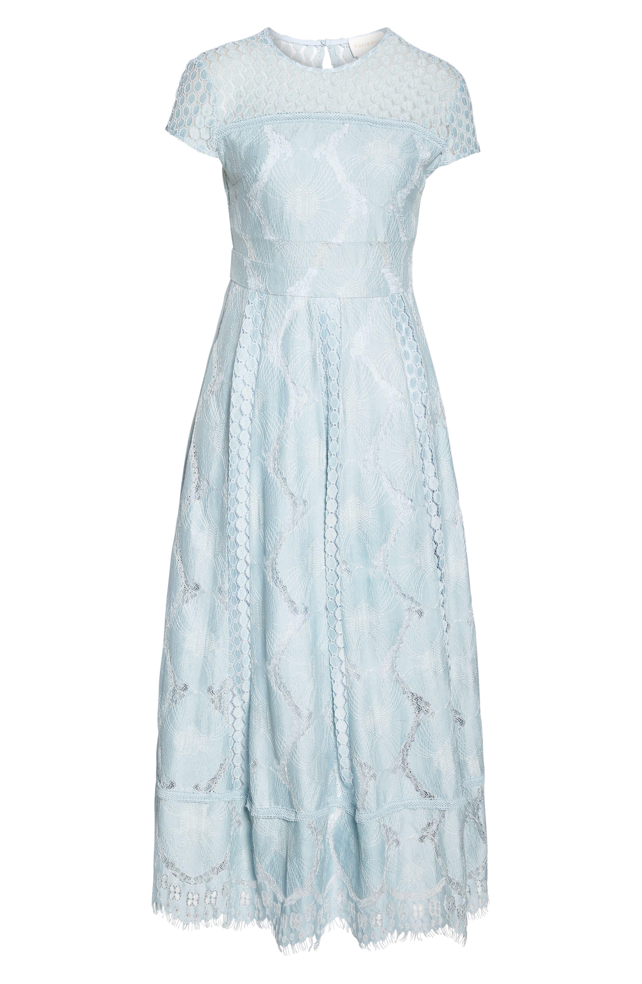 Theodora Lace Midi Dress,                             Alternate thumbnail 6, color,                             BLUEBELL
