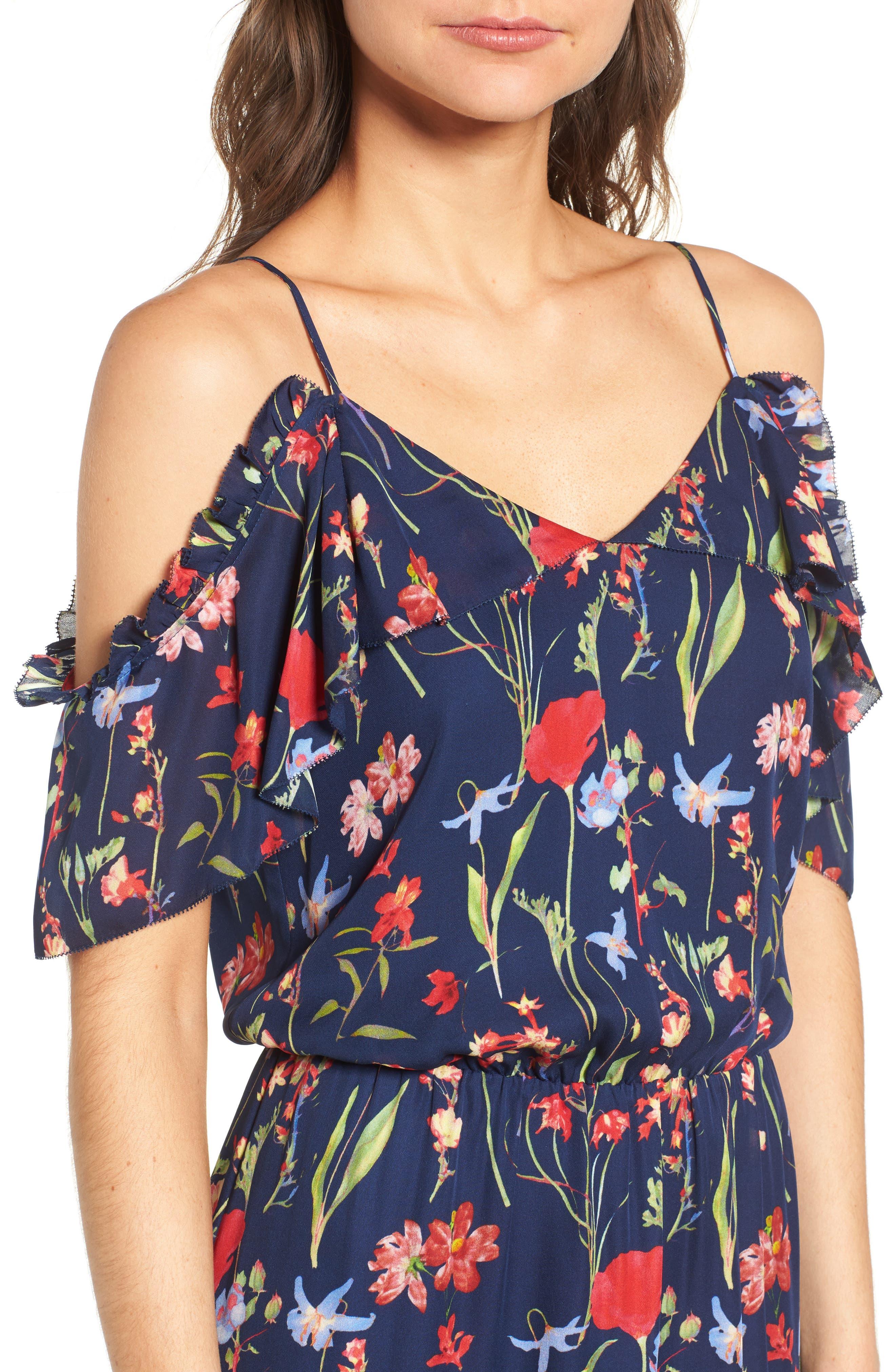 Kam Cold Shoulder Silk Dress,                             Alternate thumbnail 4, color,                             416
