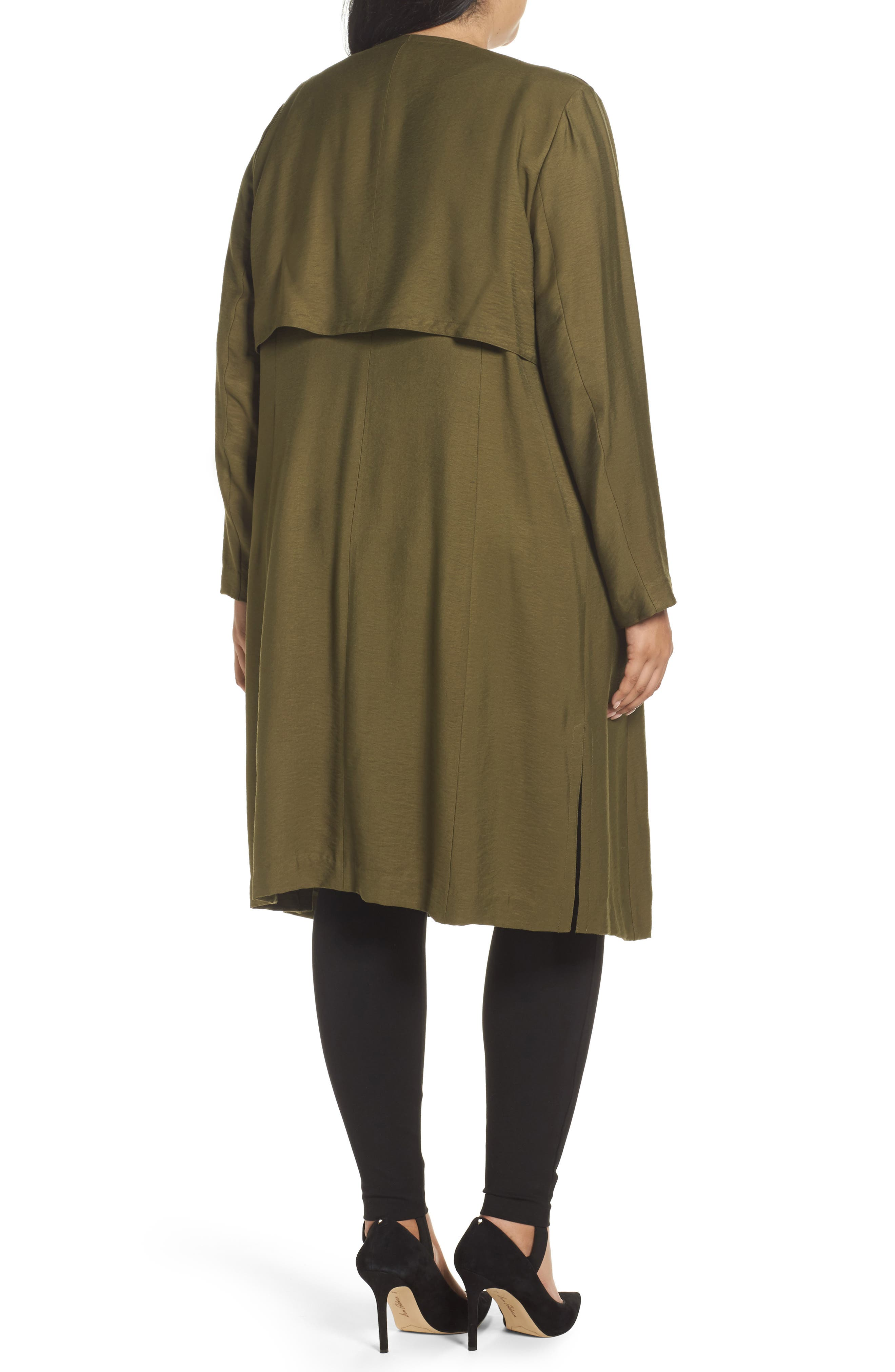 Long Open Front Trench Coat,                             Alternate thumbnail 7, color,