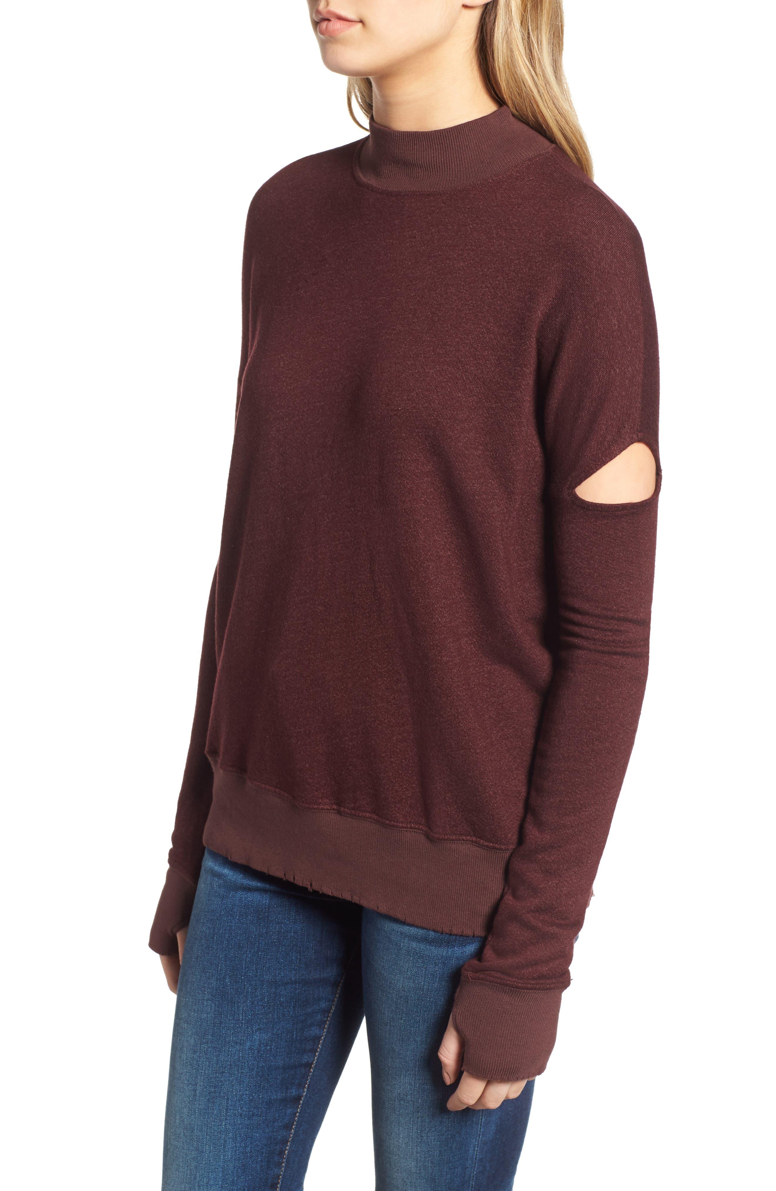 Sedro Arm Cutout Sweatshirt,                             Alternate thumbnail 3, color,                             WINETASTING