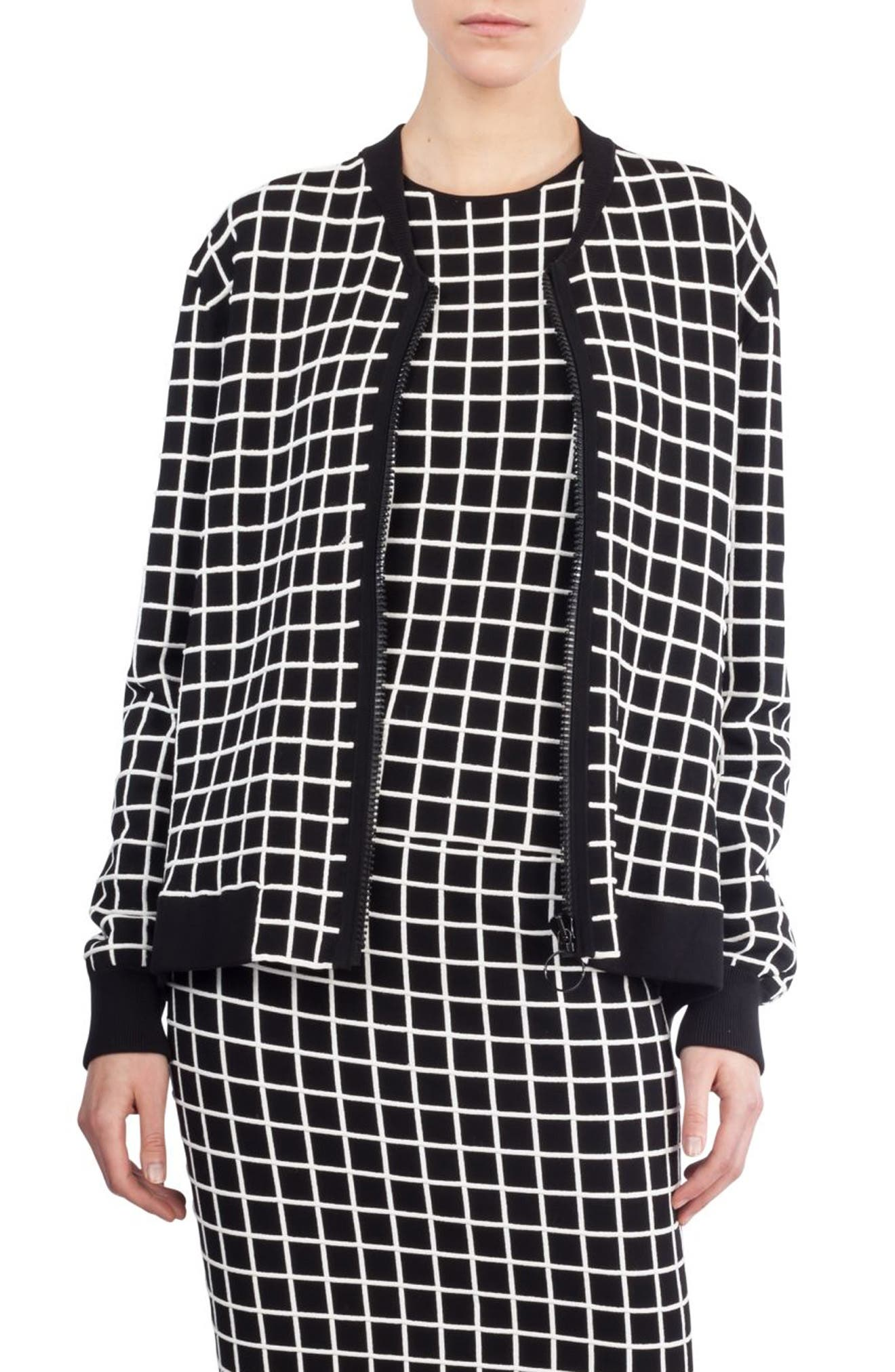 Grid Knit Bomber Jacket,                         Main,                         color, 960