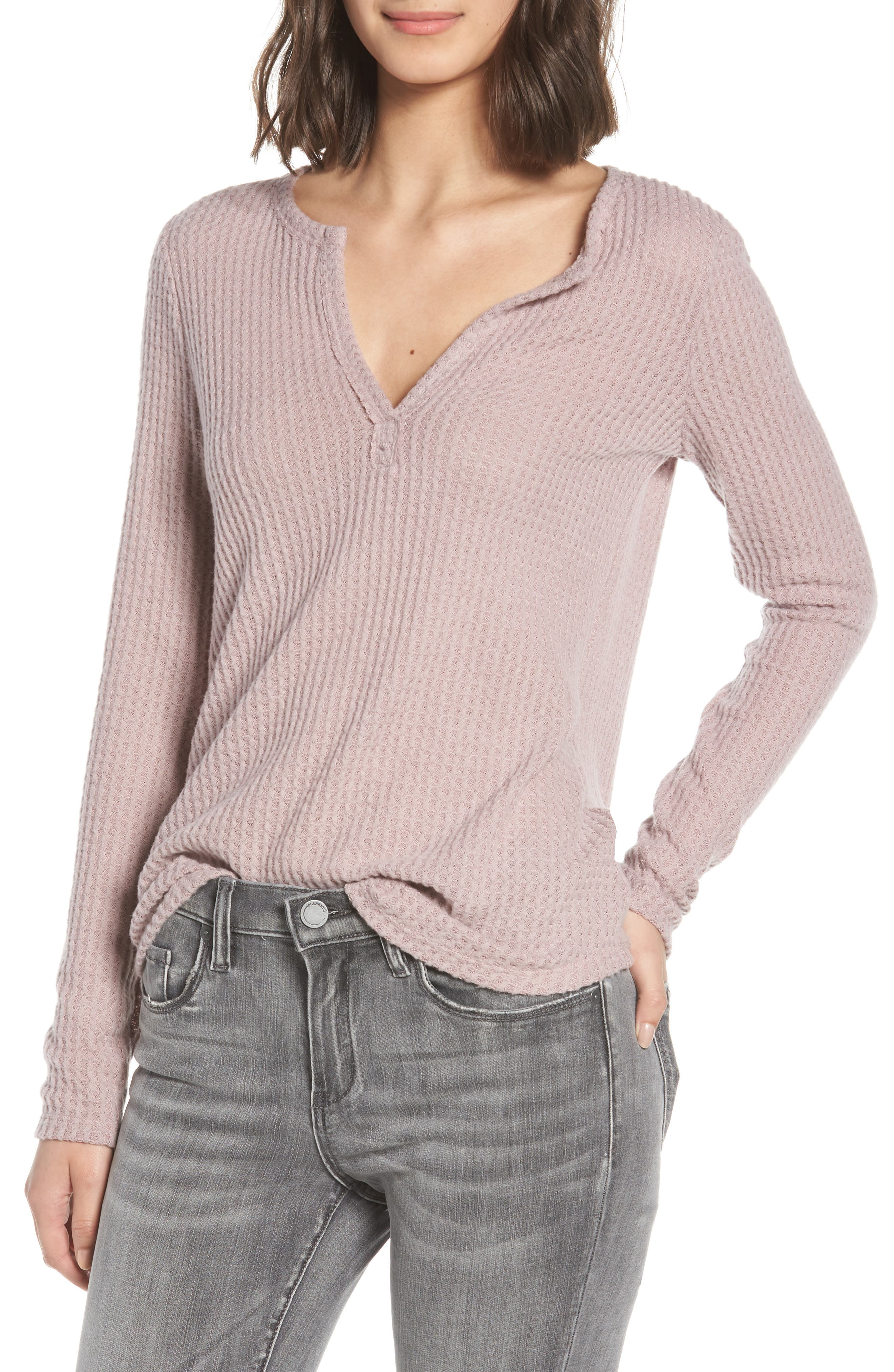 Thermal Henley Top,                         Main,                         color, SOFT ROCK
