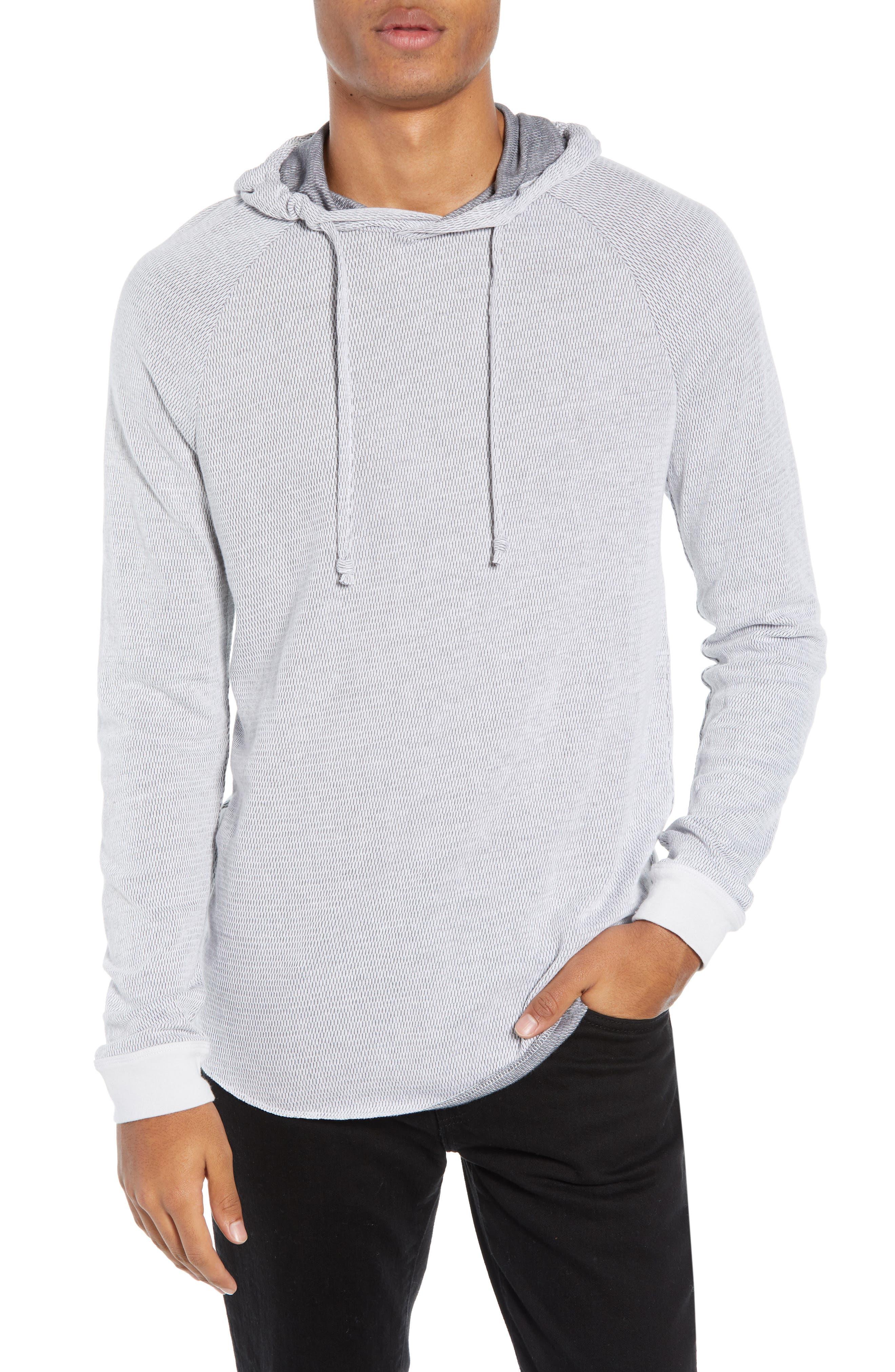Thermal Knit Raglan Hoodie,                         Main,                         color, GREY/ WHITE TWO TONE