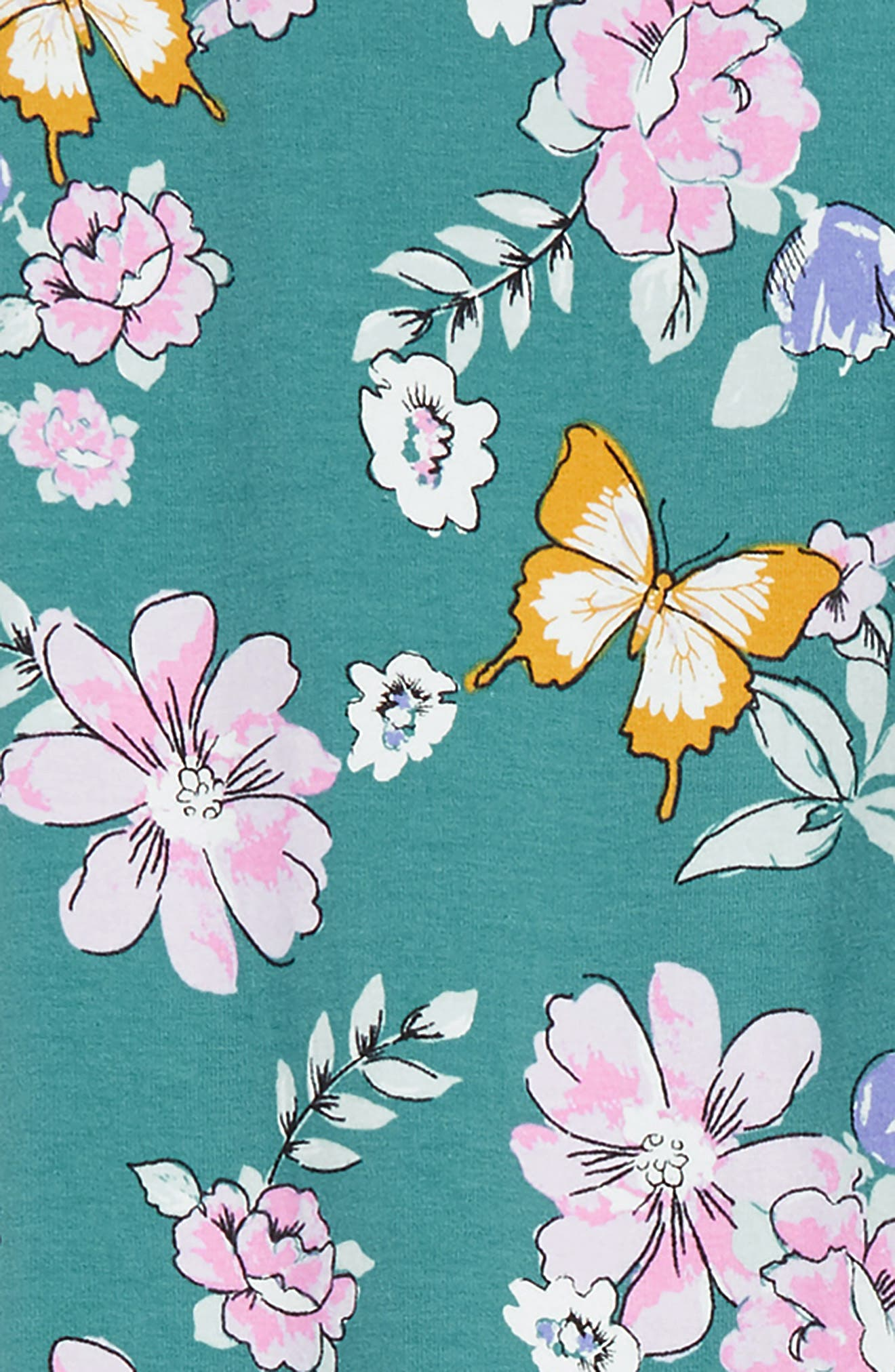 Lara Floral Blossom Leggings,                             Alternate thumbnail 2, color,                             TEAL