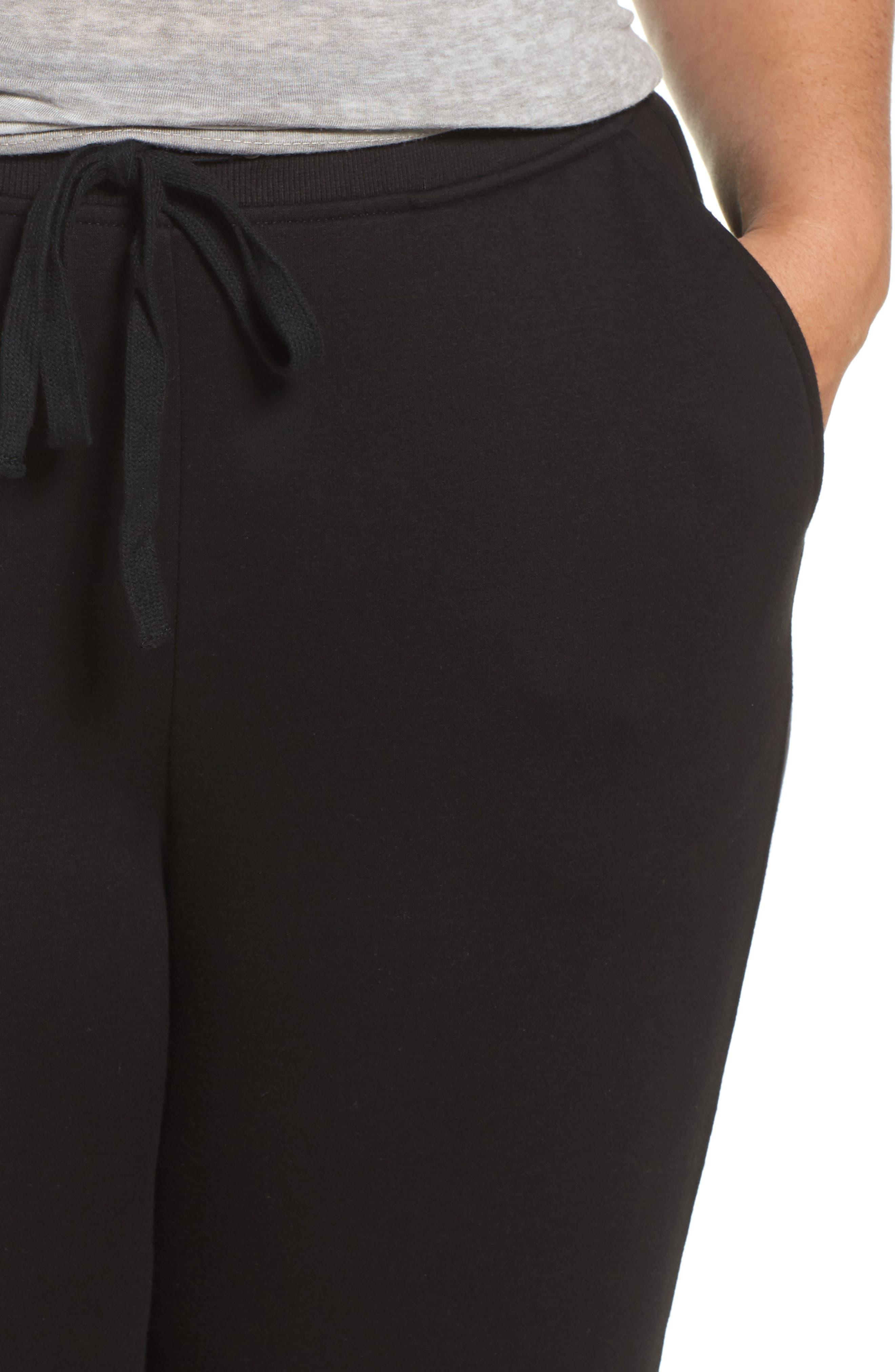 Penny Fleece Sweatpants,                             Alternate thumbnail 4, color,                             BLACK