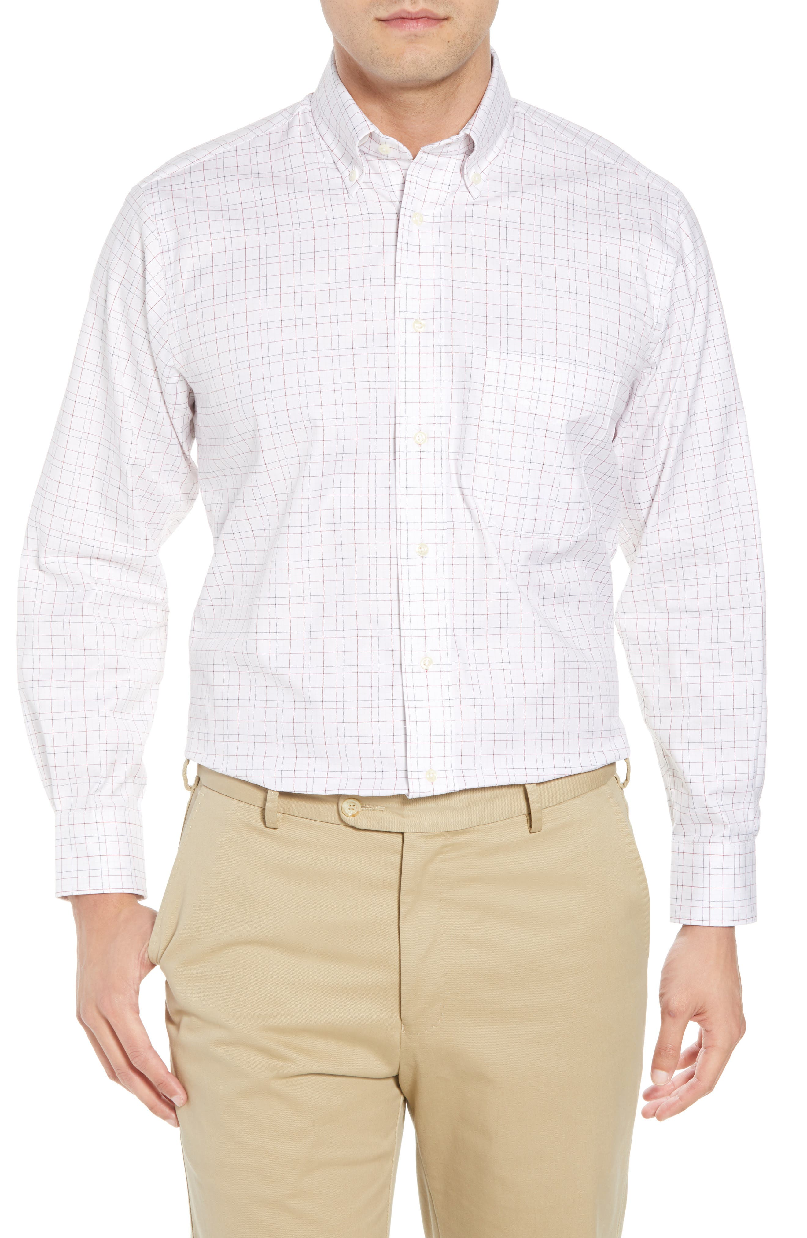Tailored Fit Plaid Dress Shirt,                         Main,                         color, WHITE/ BURGUNDY