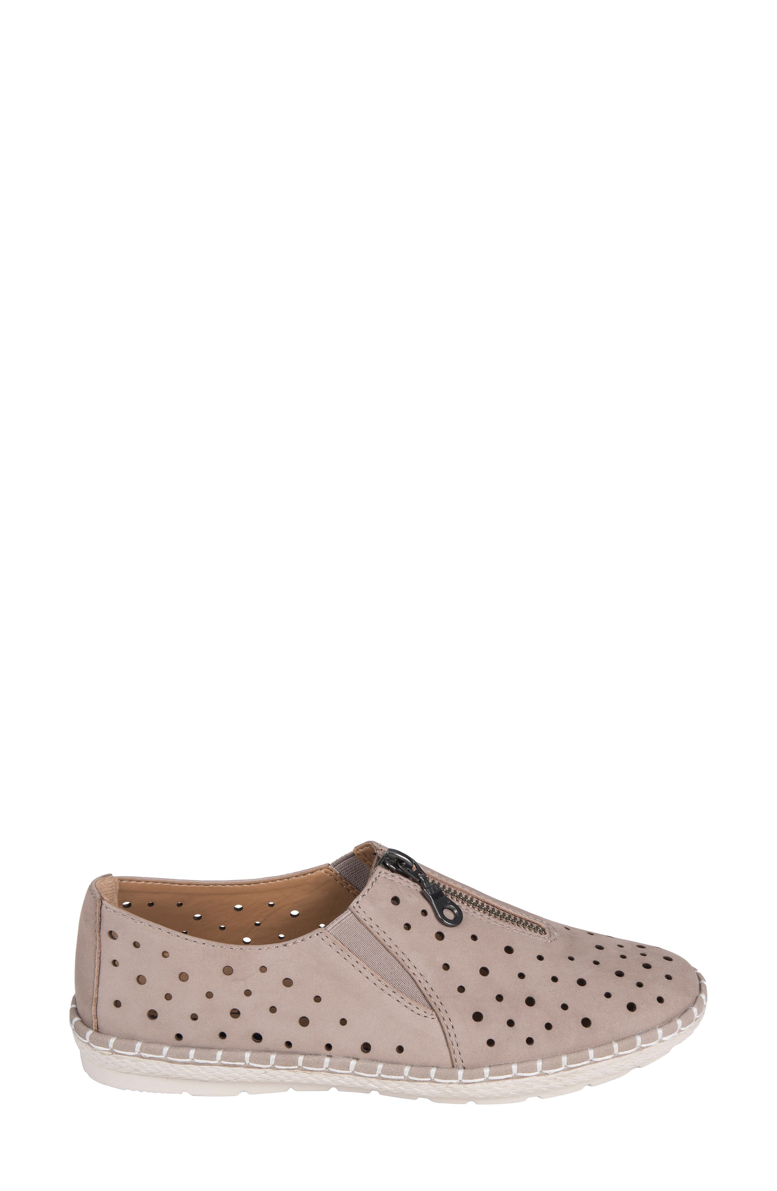 Callisto Perforated Zip Moccasin,                             Alternate thumbnail 3, color,                             TAUPE NUBUCK