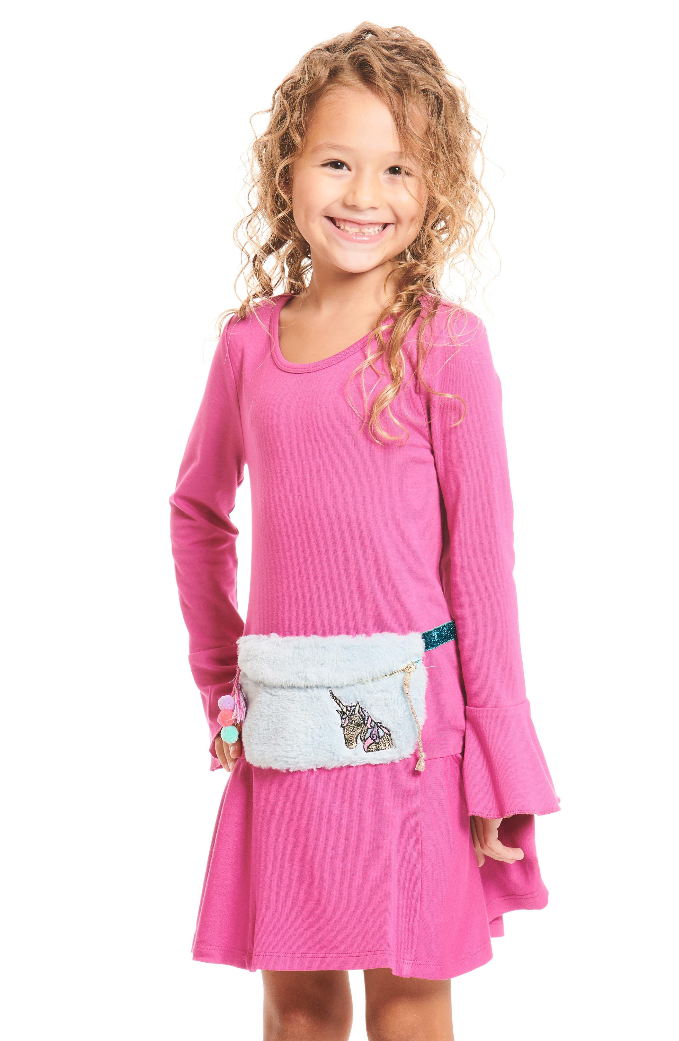 Knit Dress with Faux Fur Pouch,                         Main,                         color, FUSCHIA