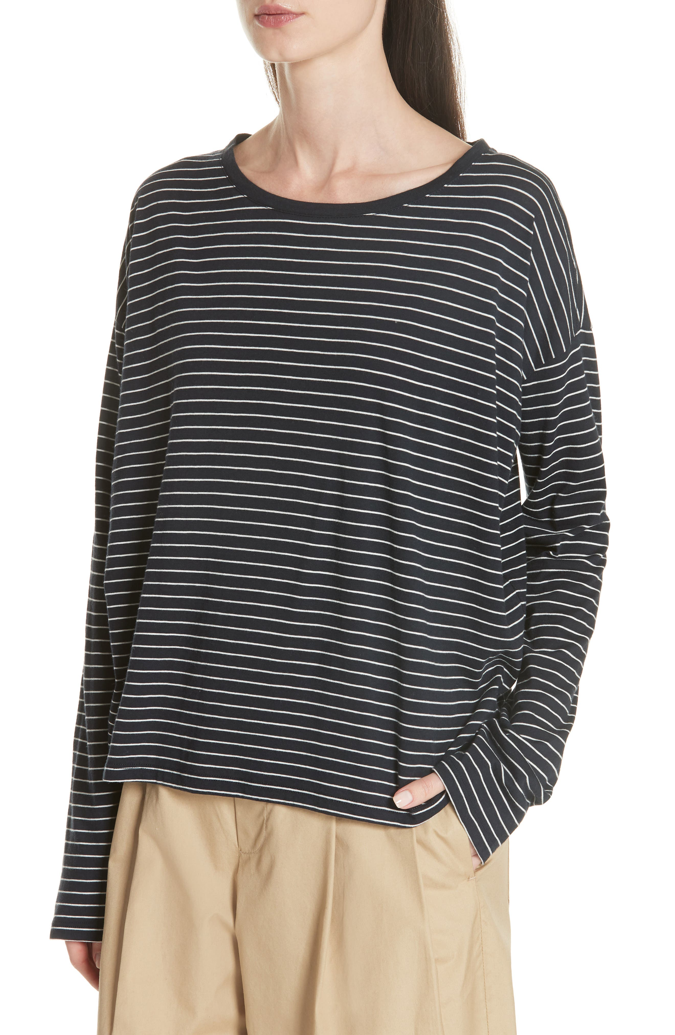 Pencil Stripe Pima Cotton Pullover Top,                             Alternate thumbnail 4, color,                             COASTAL/ VANILLA
