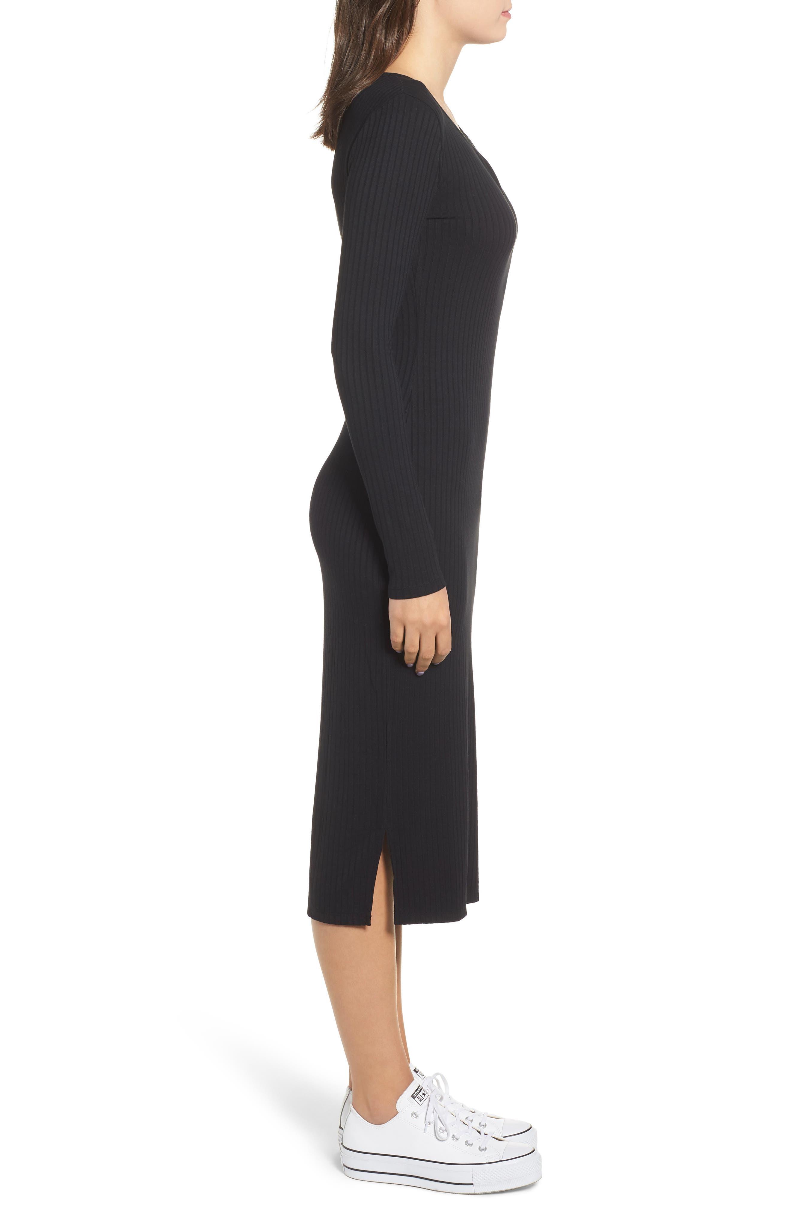Ribbed Henley Midi Dress,                             Alternate thumbnail 3, color,                             BLACK