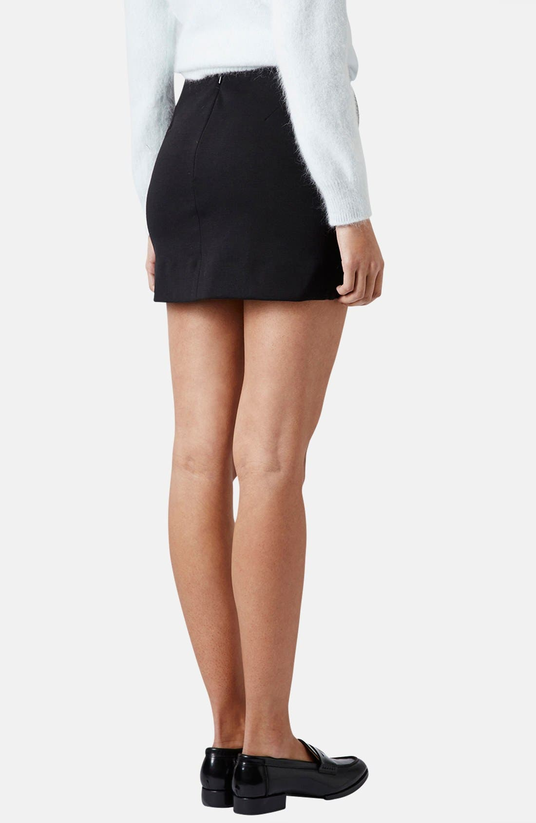 TOPSHOP,                             Asymmetrical Miniskirt,                             Alternate thumbnail 4, color,                             001