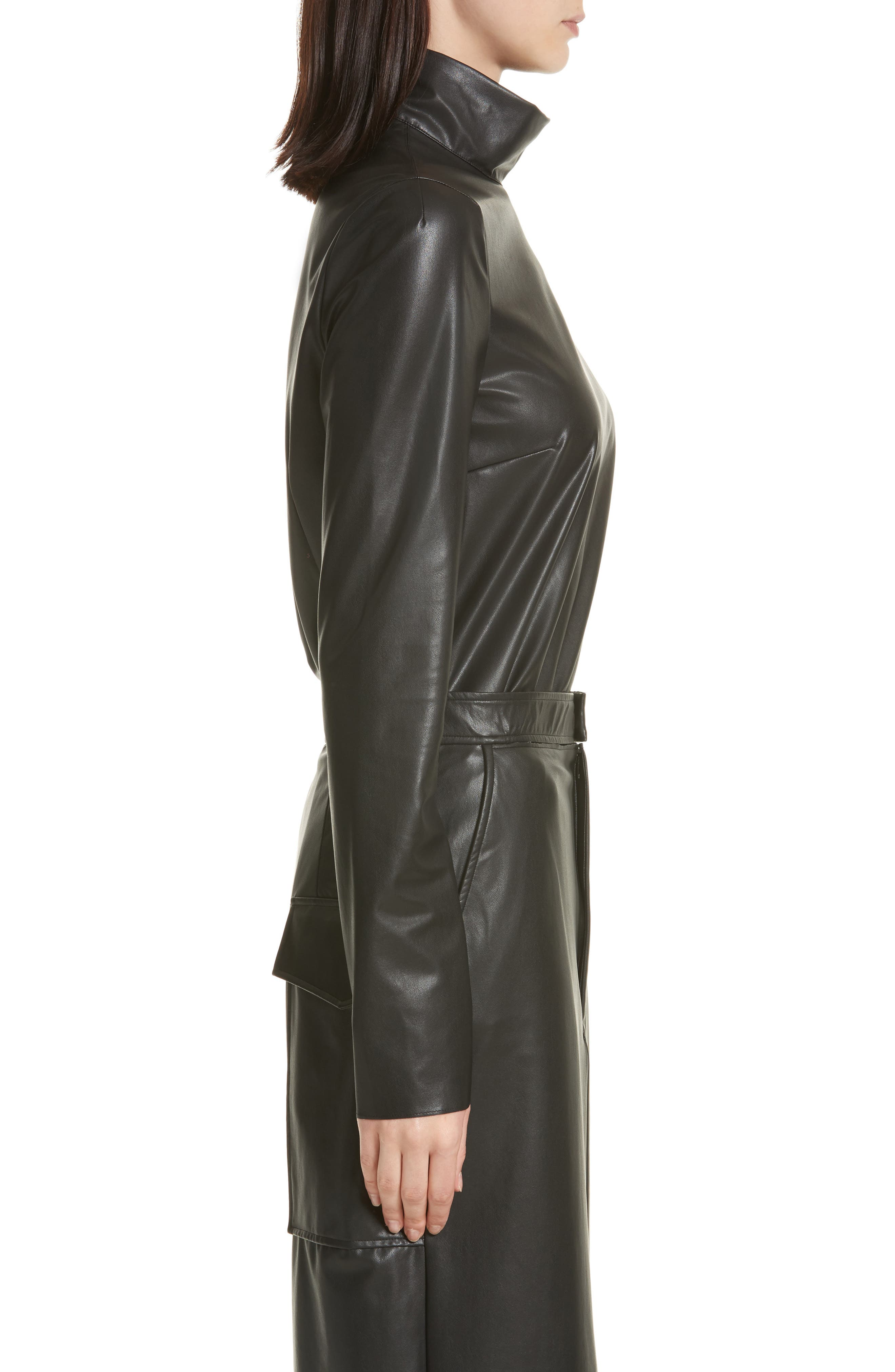 Vienna Feather Sky Faux Leather Top,                             Alternate thumbnail 3, color,