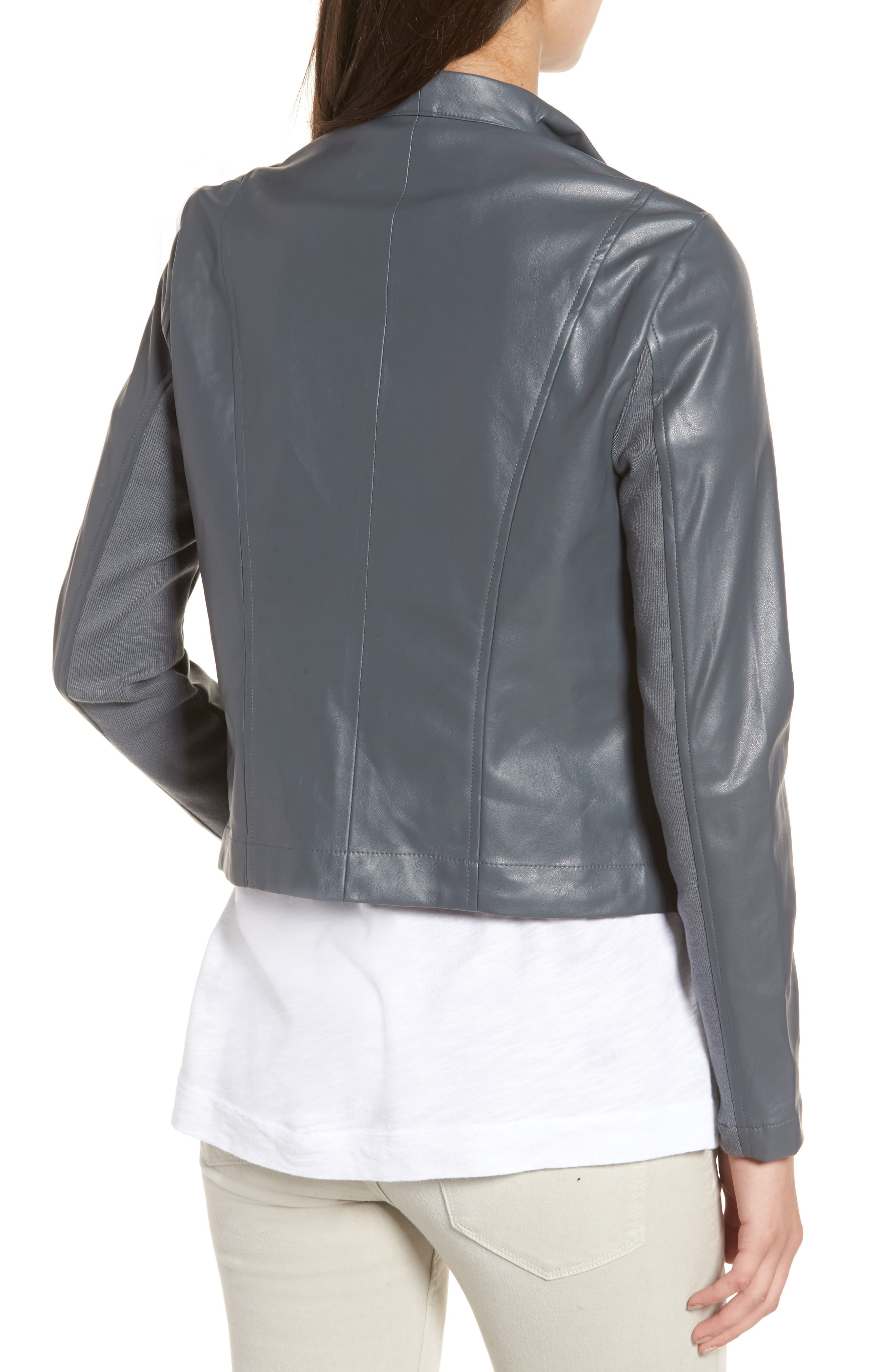 'Peppin' Drape Front Faux Leather Jacket,                             Alternate thumbnail 13, color,