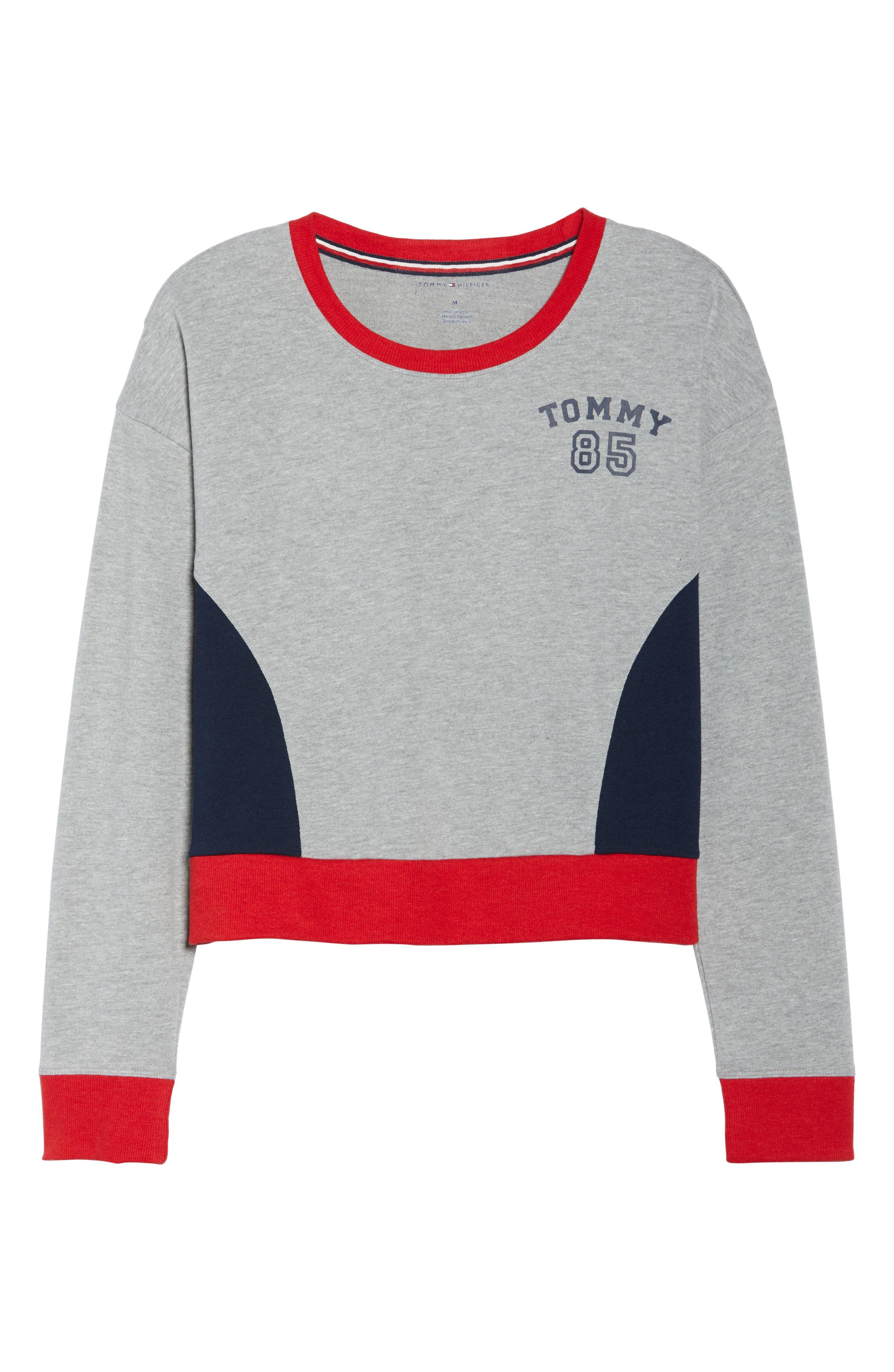 TOMMY HILFIGER,                             Crop Lounge Sweatshirt,                             Alternate thumbnail 6, color,                             025
