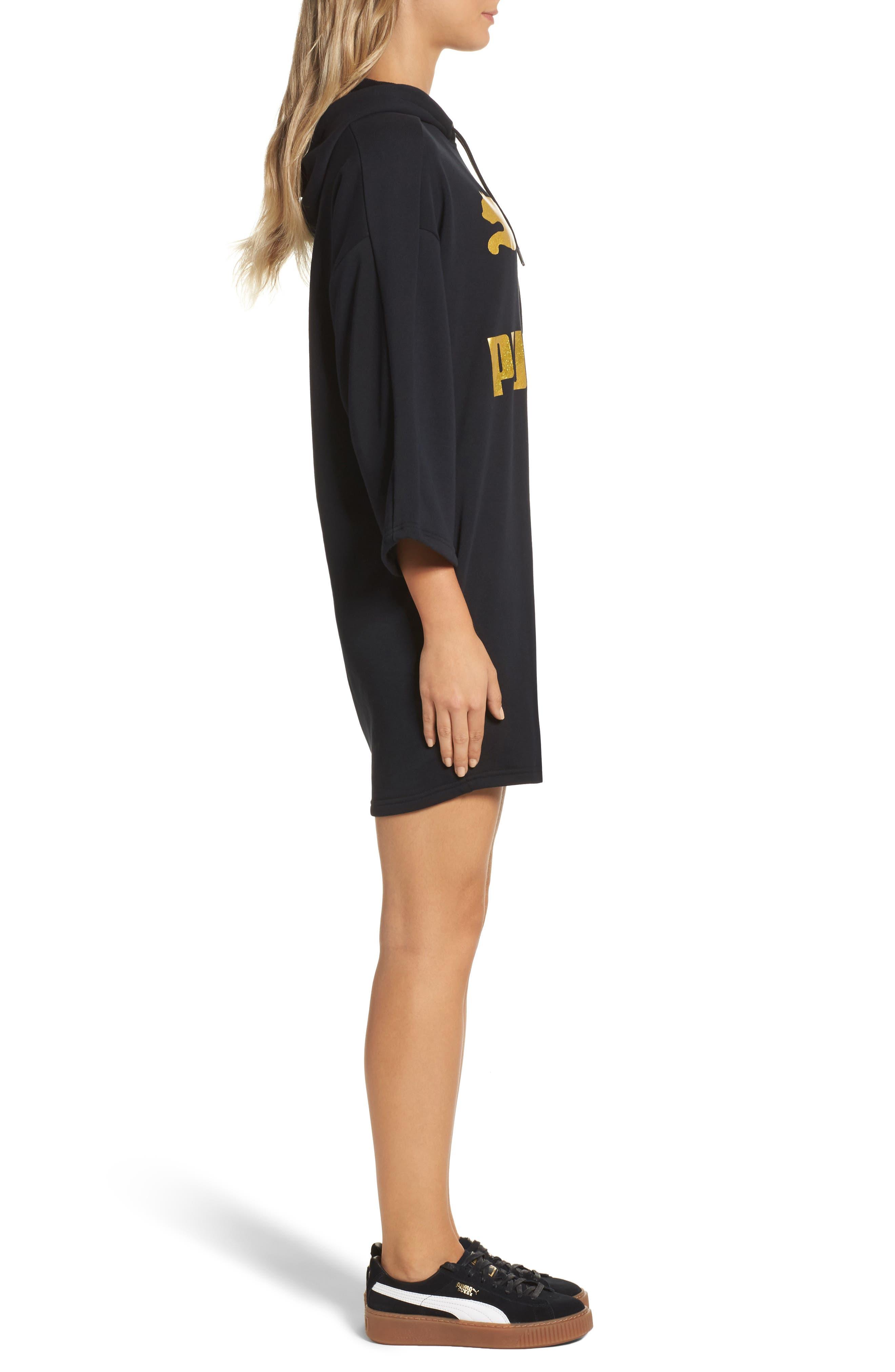 Glam Oversize Hooded Dress,                             Alternate thumbnail 3, color,                             001