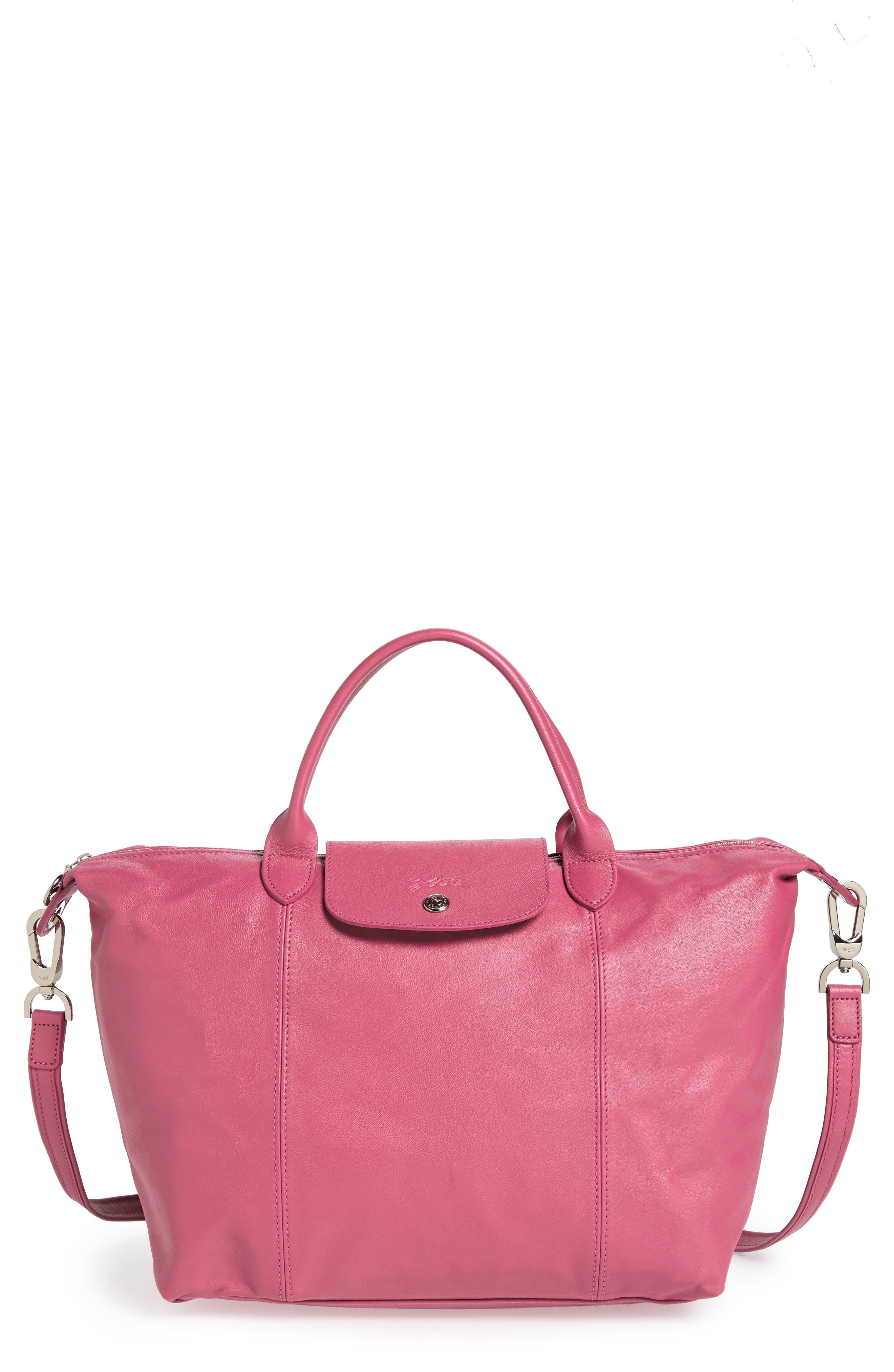 Medium 'Le Pliage Cuir' Leather Top Handle Tote,                             Alternate thumbnail 52, color,