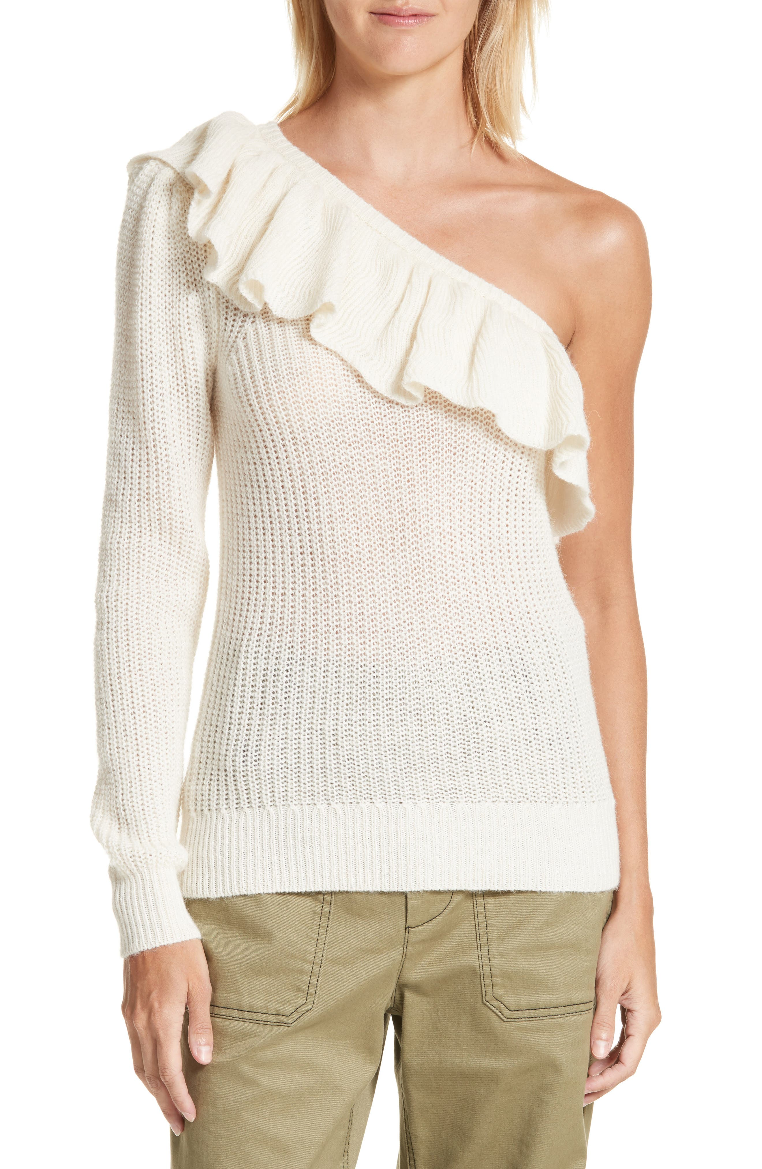 One-Shoulder Ruffle Sweater,                         Main,                         color, 907