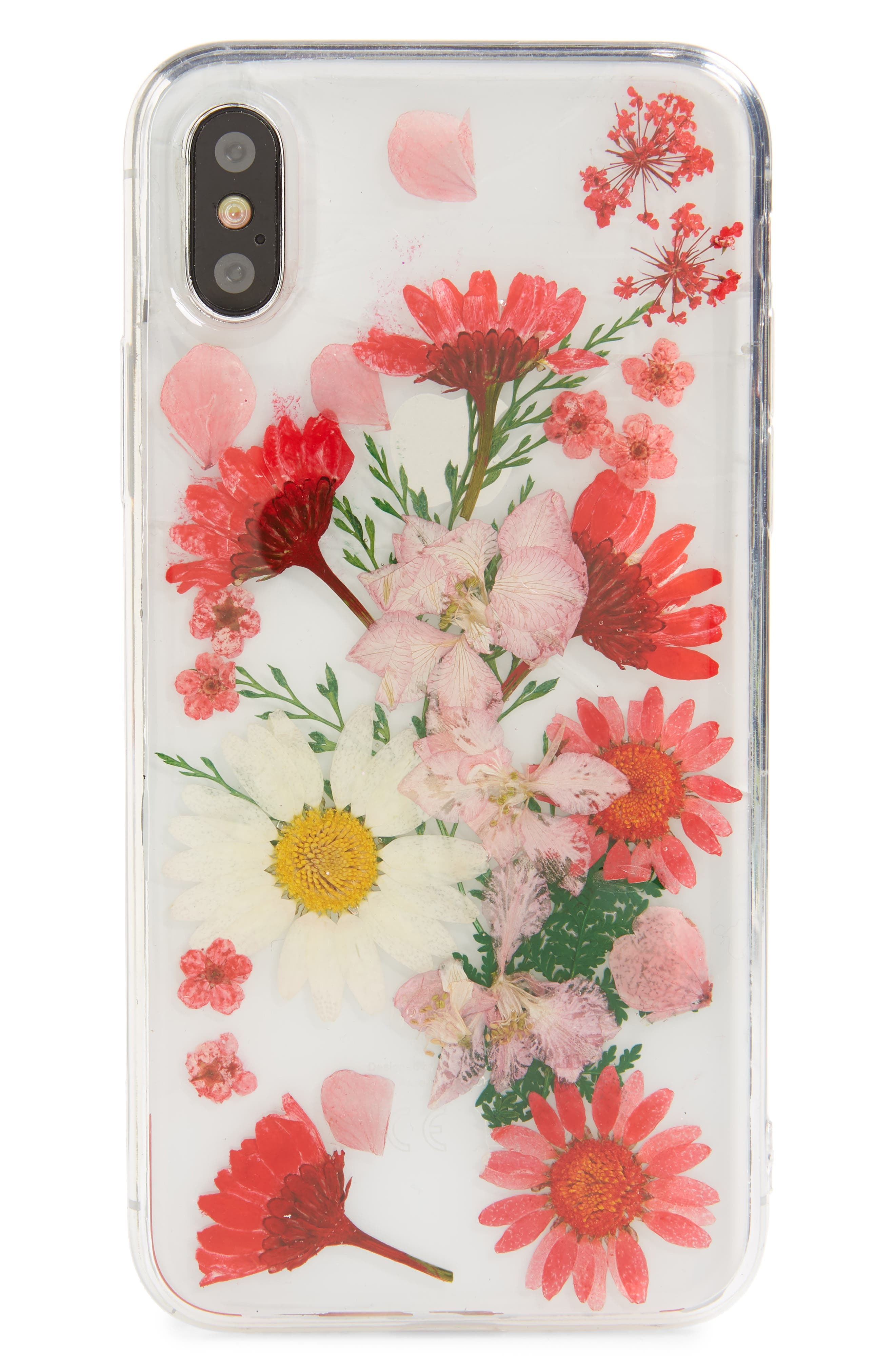 Floral iPhone X & Xs Case,                             Main thumbnail 1, color,                             CLEAR MULTI