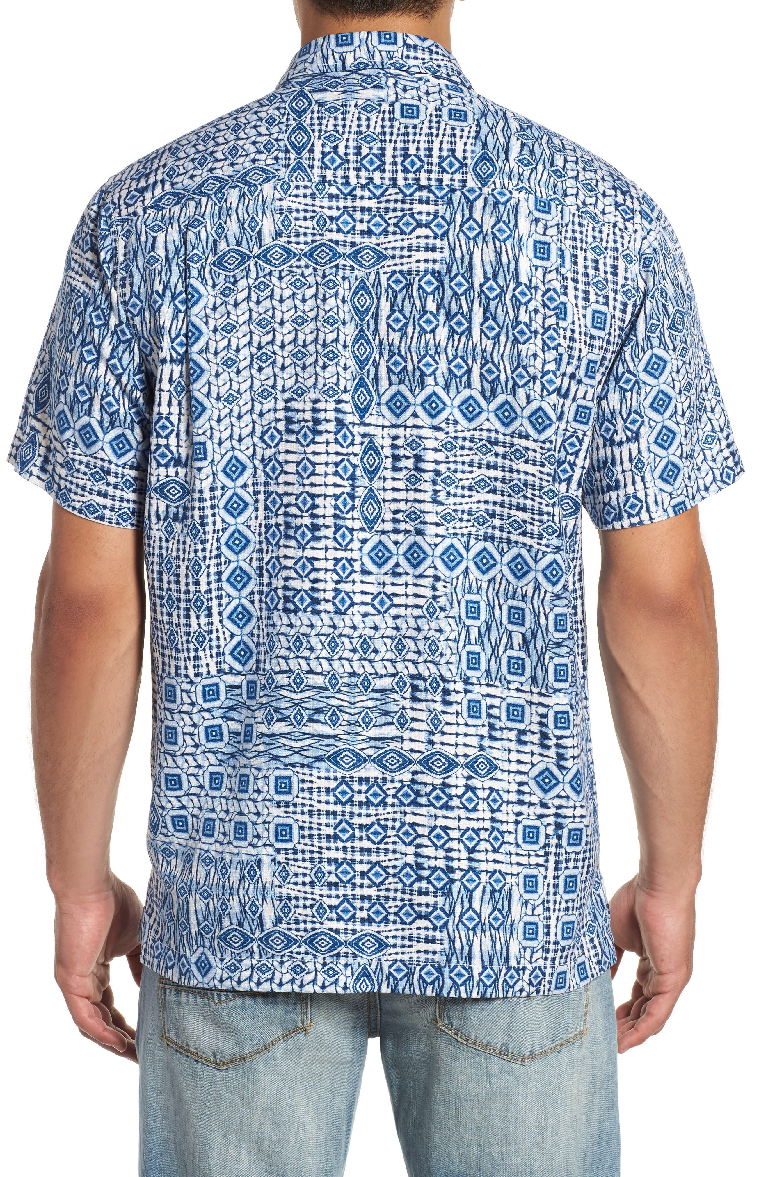 Tile Traveler Regular Fit Silk Camp Shirt,                             Alternate thumbnail 3, color,                             BLUE JEAN