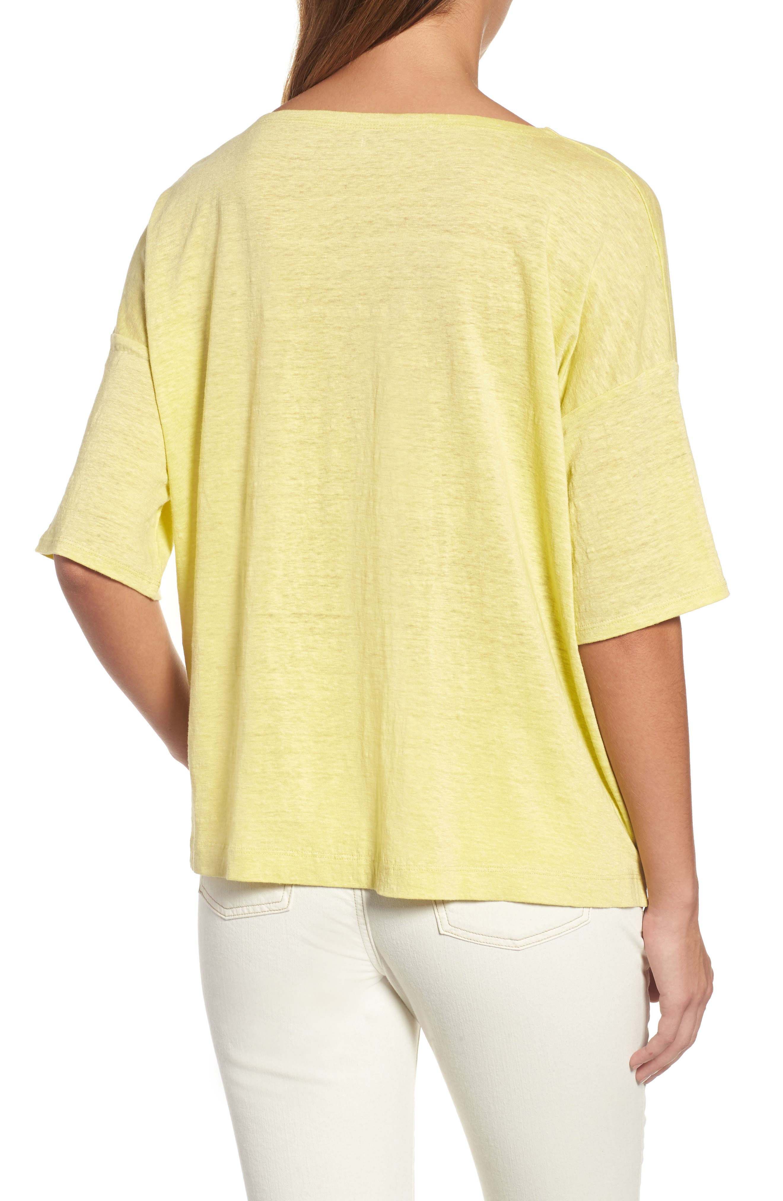 Organic Linen Jersey Boxy Top,                             Alternate thumbnail 14, color,