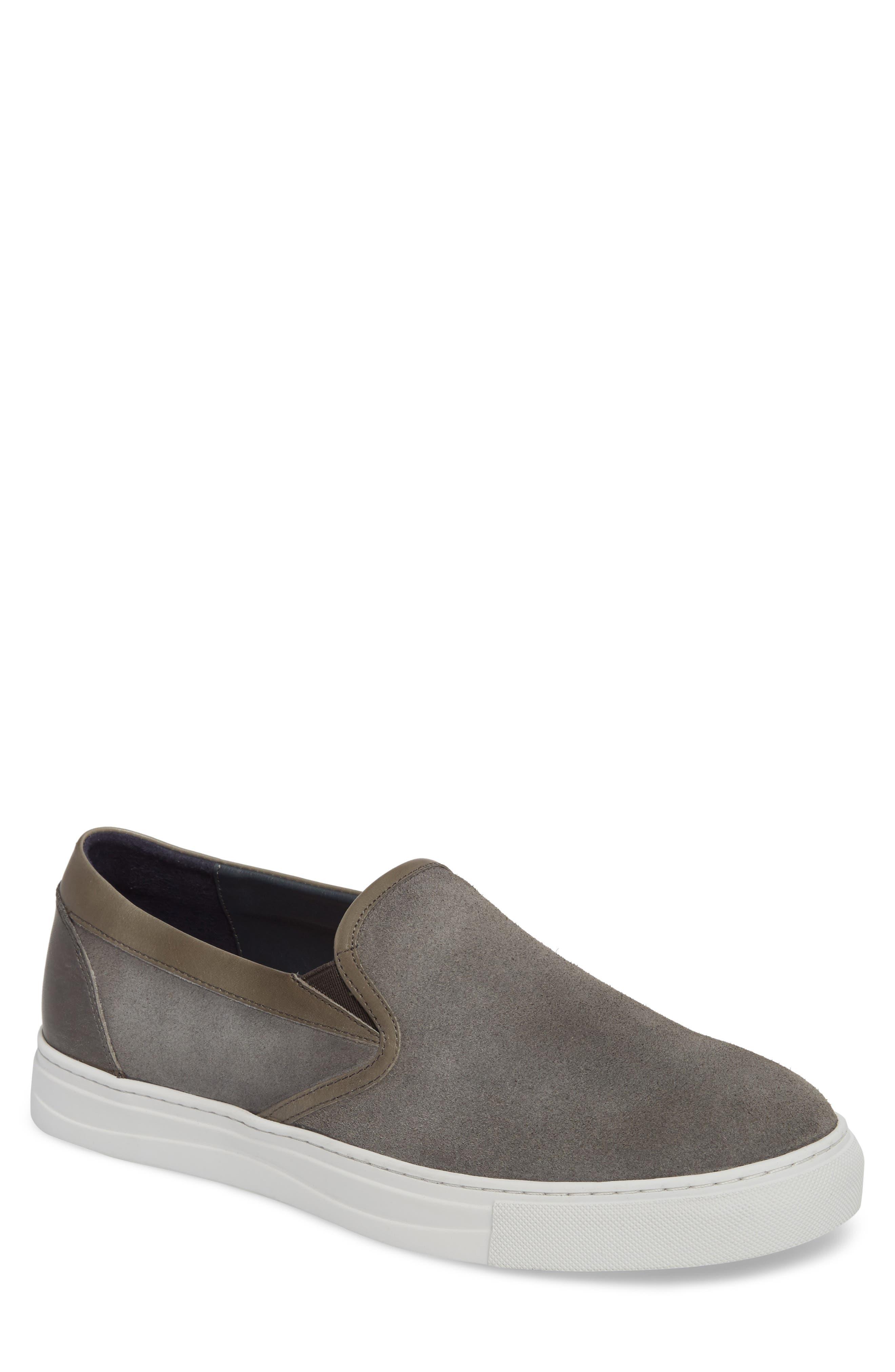Vane Slip-On Sneaker,                         Main,                         color, GREY SUEDE/ LEATHER