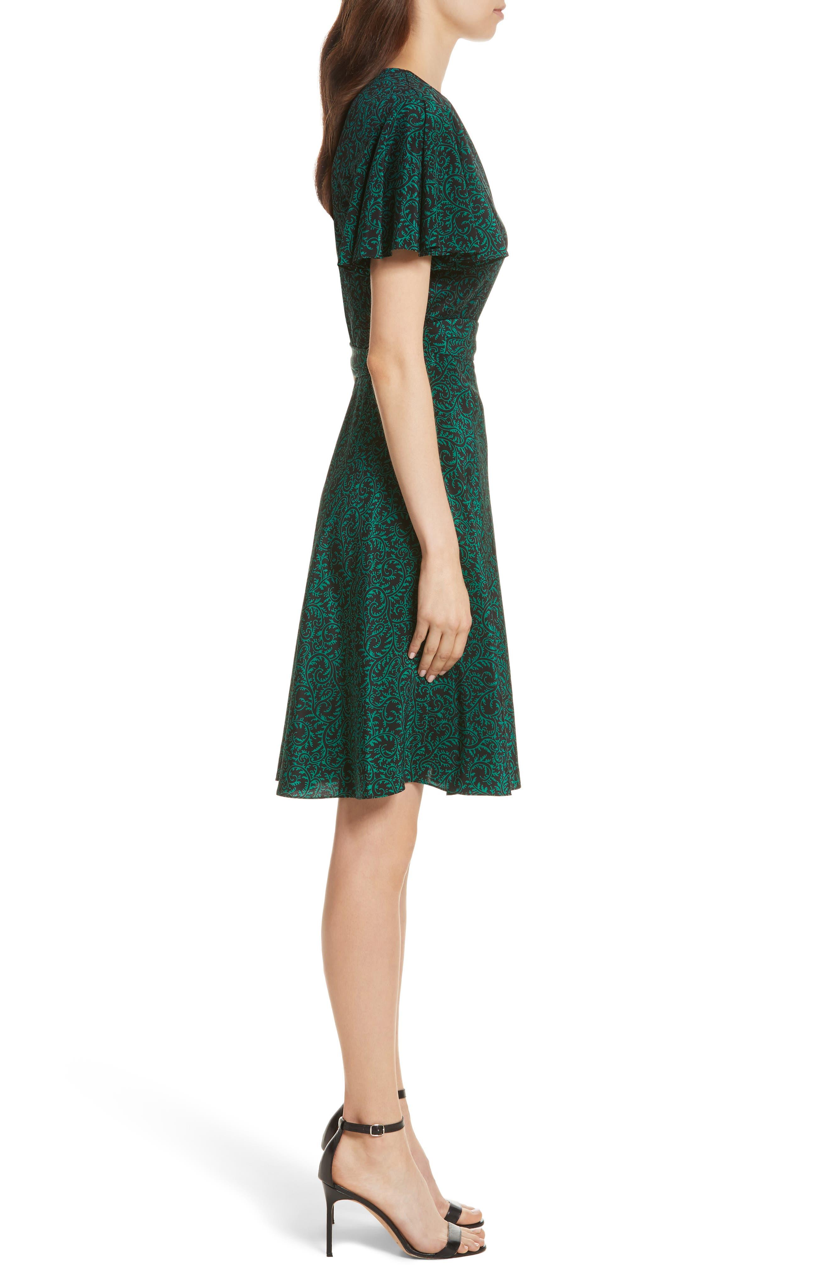 Diane von Furstenberg Flutter Sleeve Silk Wrap Dress,                             Alternate thumbnail 11, color,