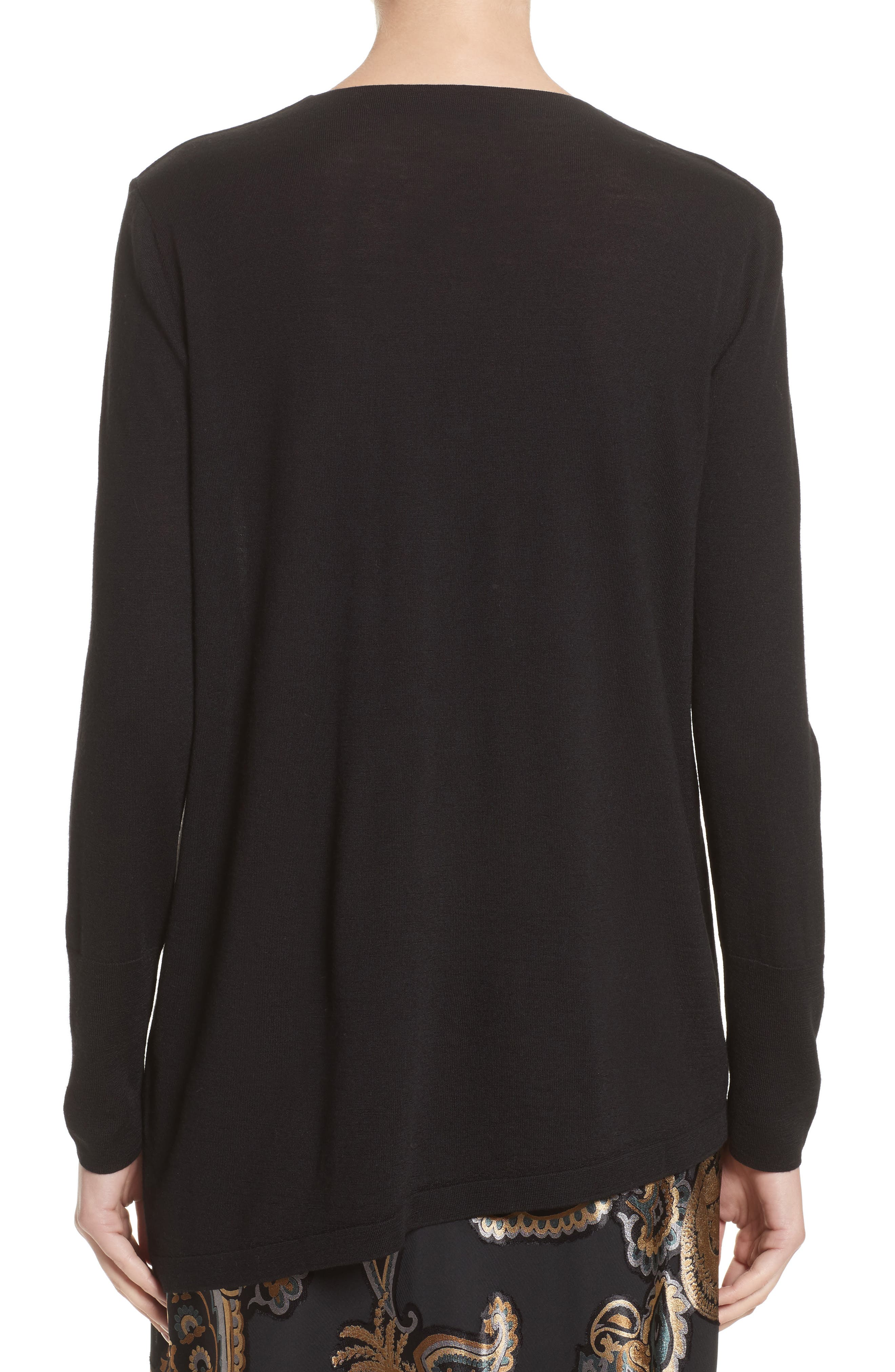 Asymmetrical Cowl Neck Sweater,                             Alternate thumbnail 2, color,                             BLACK