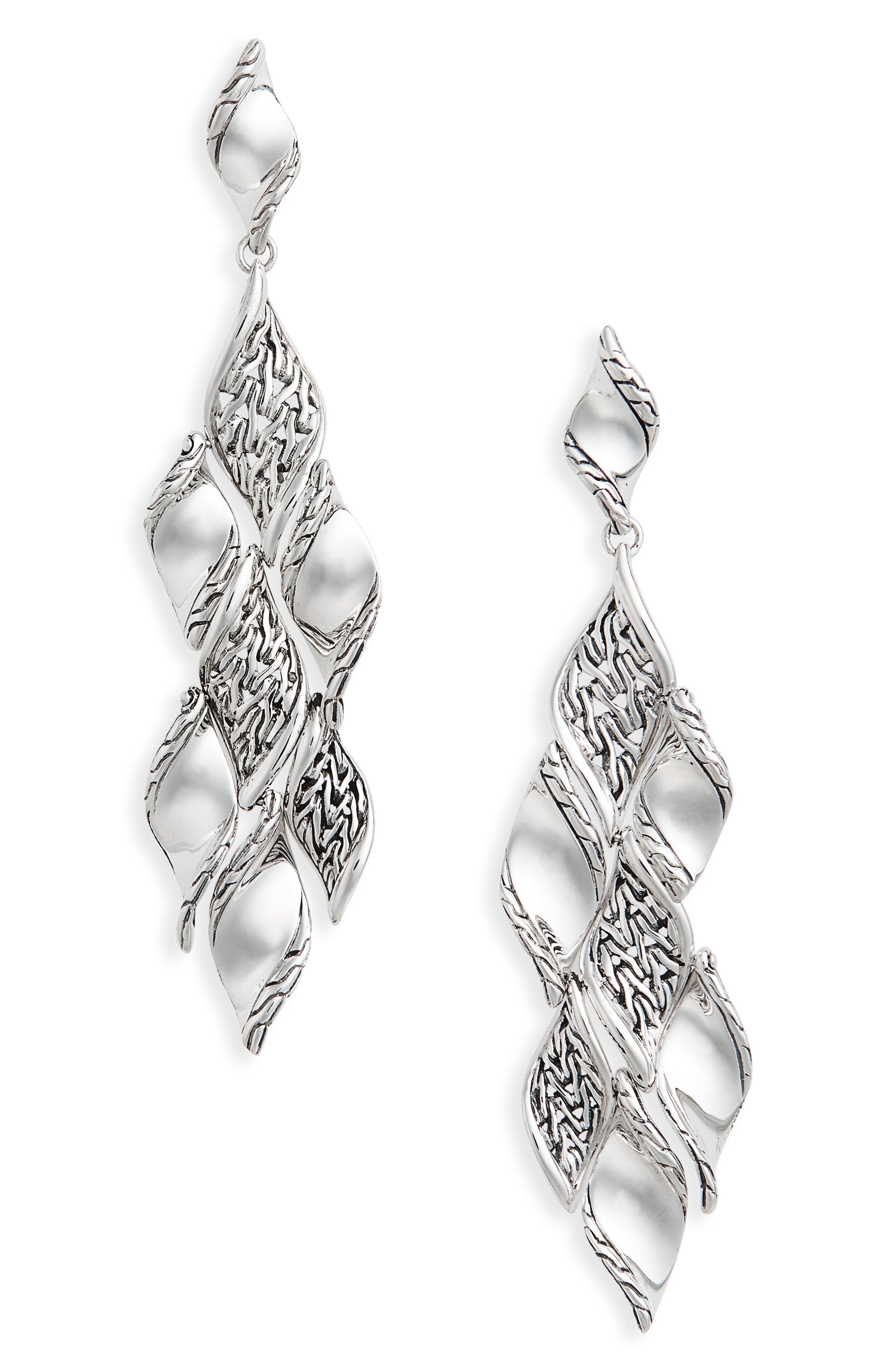 Classic Wave Silver Drop Earrings,                             Main thumbnail 1, color,                             SILVER