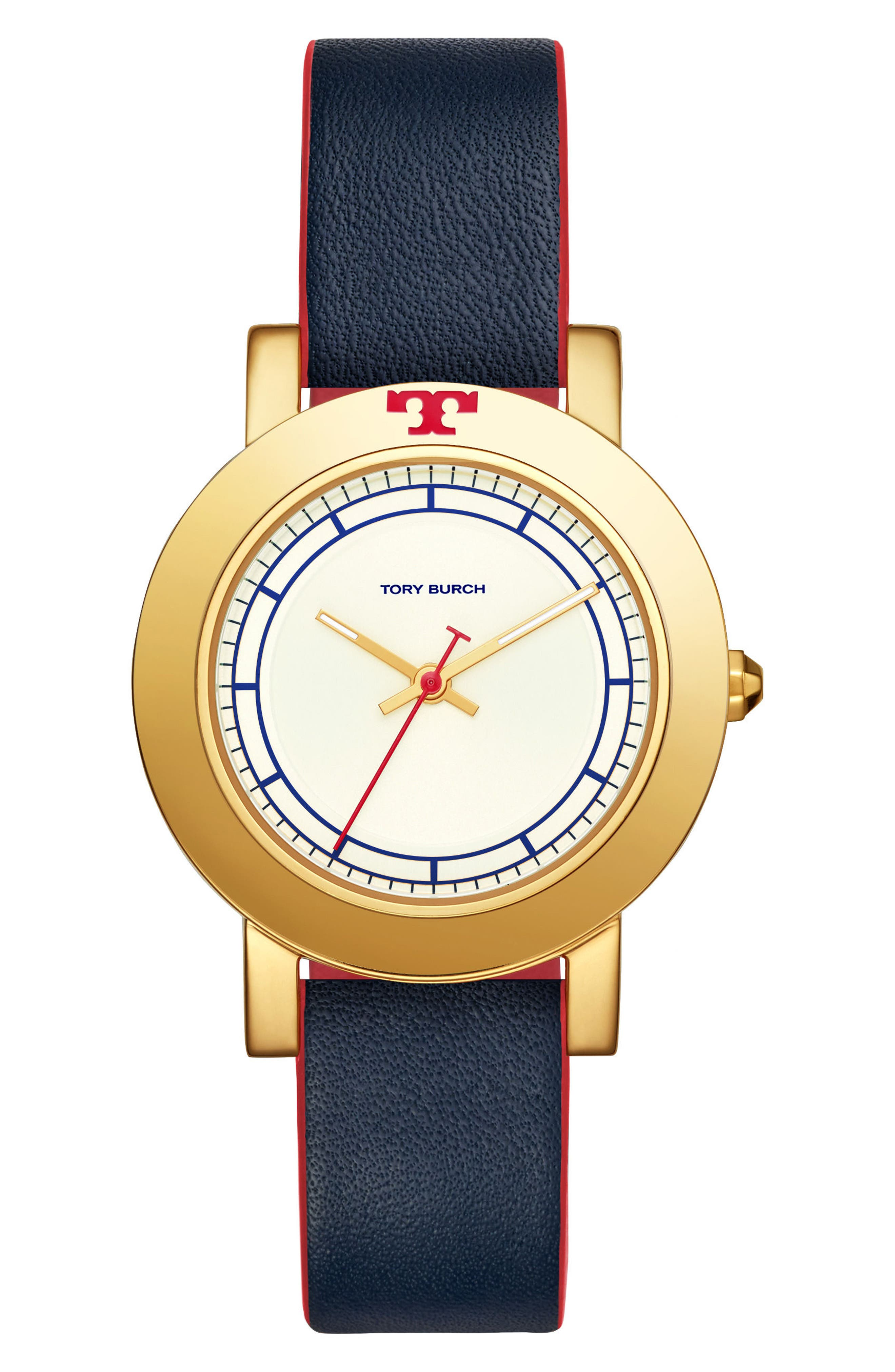 Ellsworth Leather Strap Watch, 36mm,                         Main,                         color, BLUE/ CREAM/ GOLD