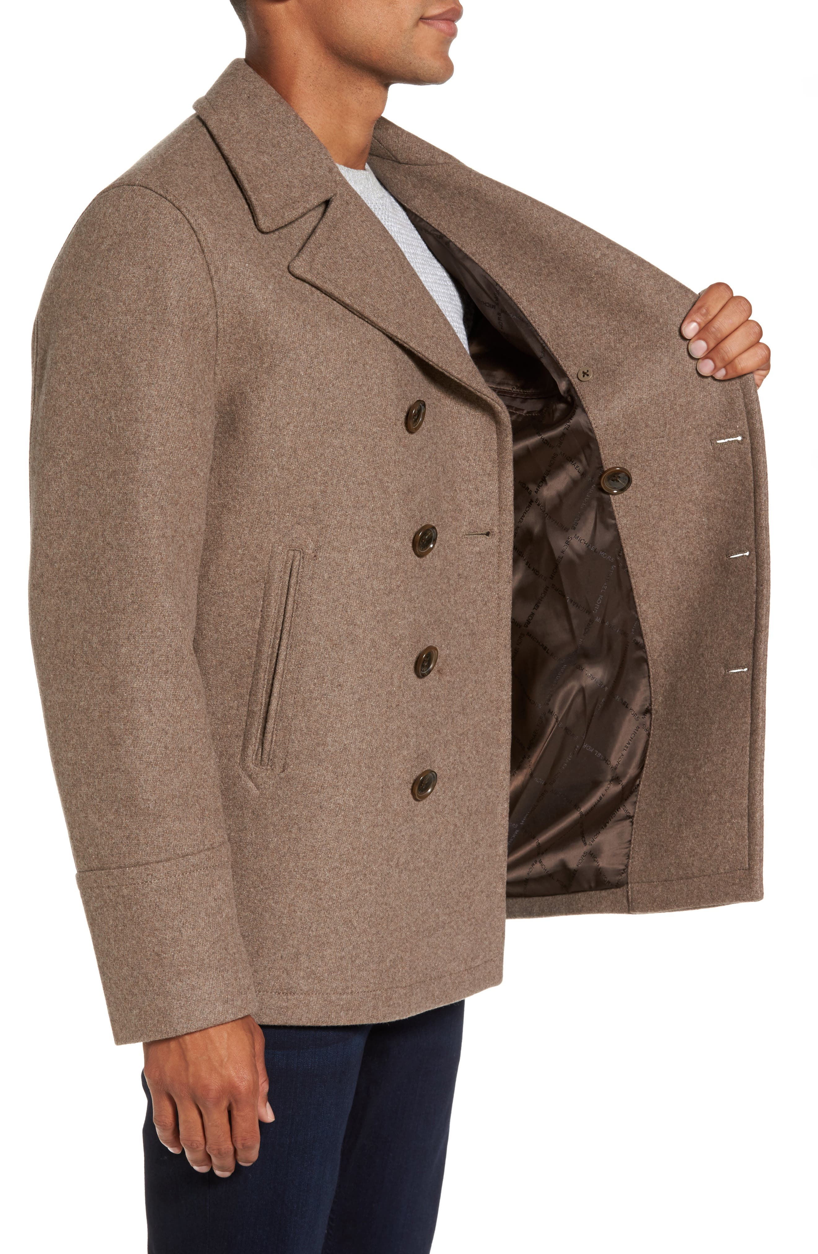 Wool Blend Double Breasted Peacoat,                             Alternate thumbnail 47, color,